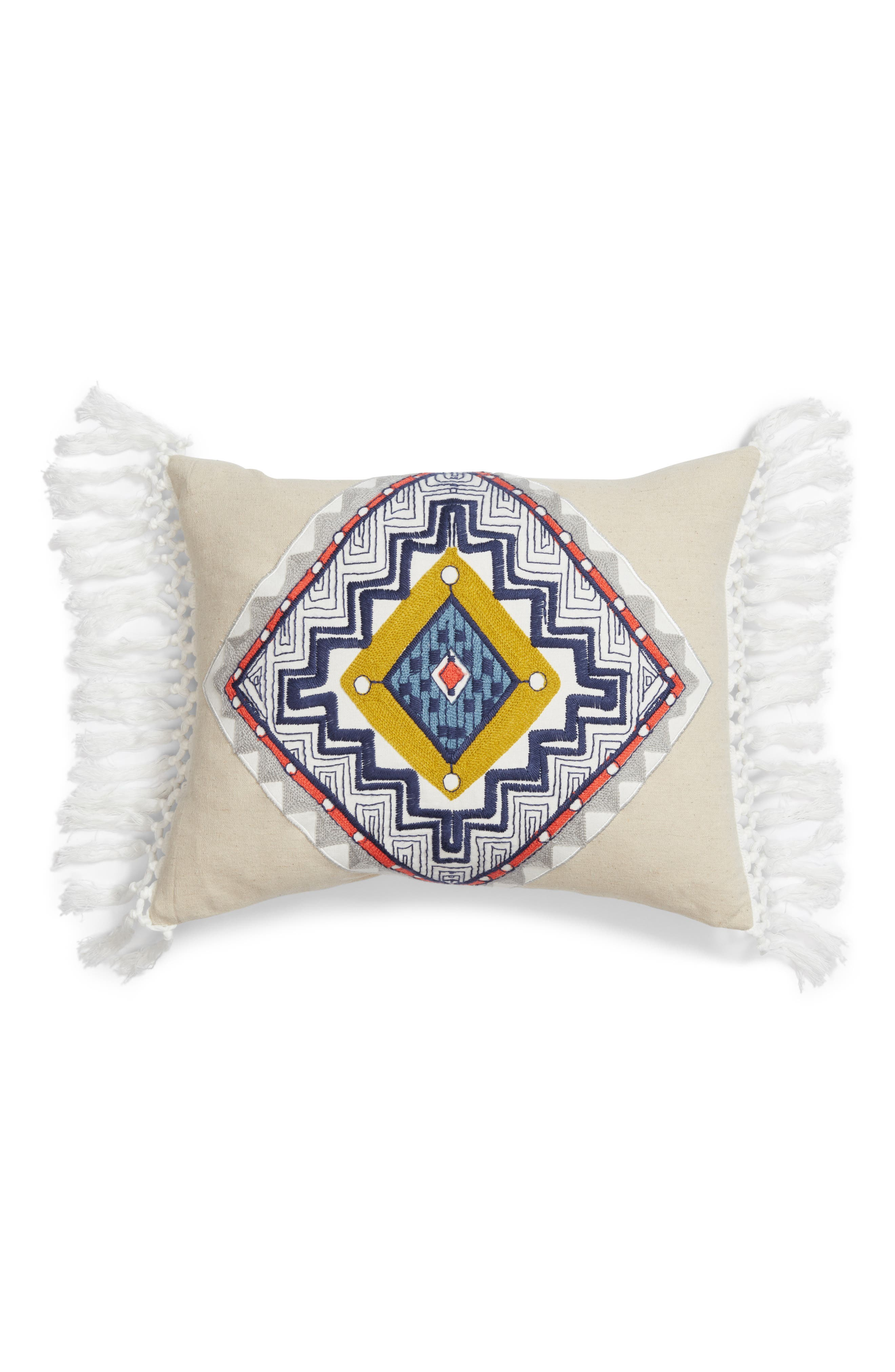 Reya Embroidered Accent Pillow,                             Main thumbnail 1, color,                             Natural