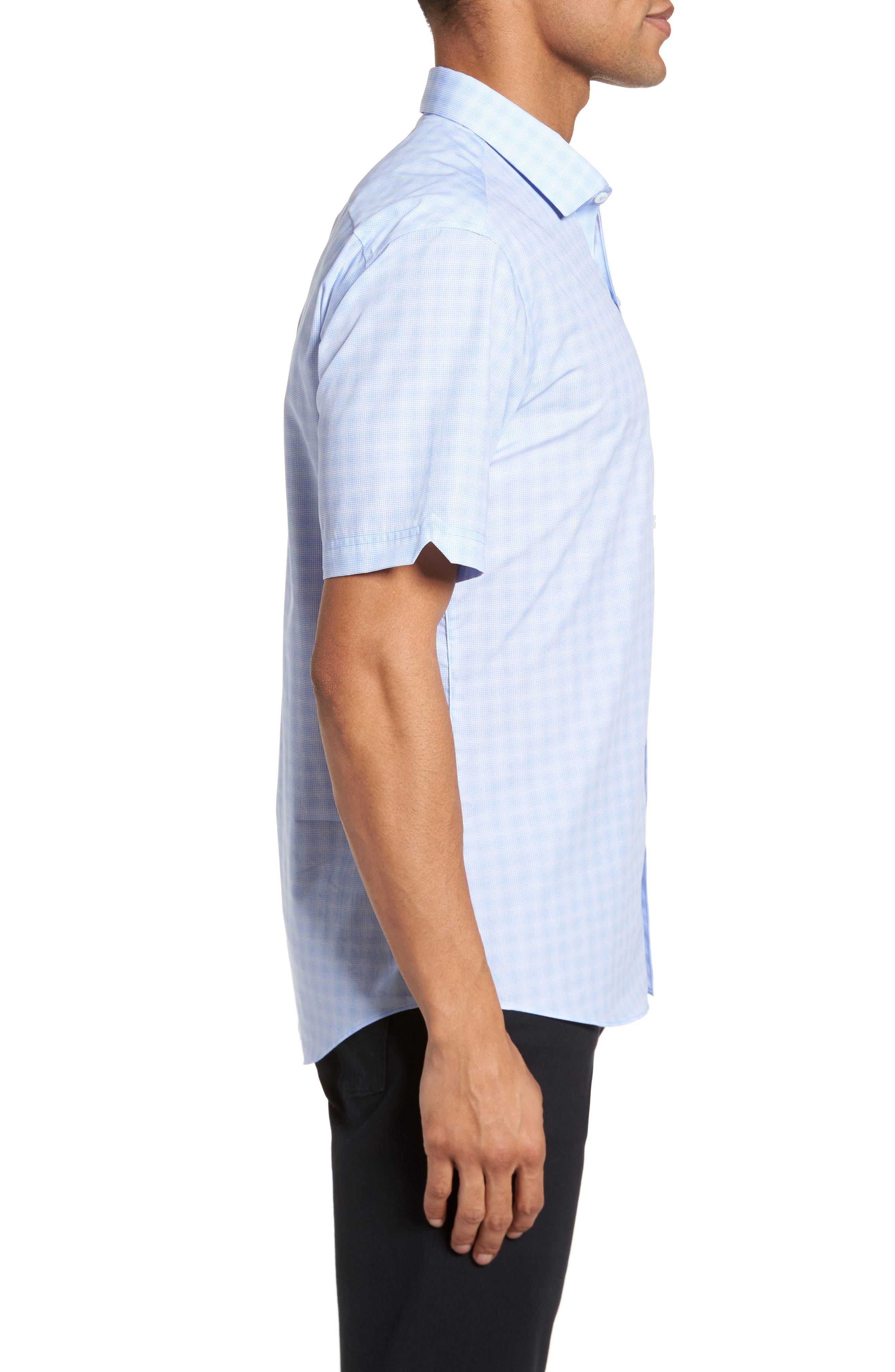 Cecil Check Print Sport Shirt,                             Alternate thumbnail 3, color,                             Lt Blue