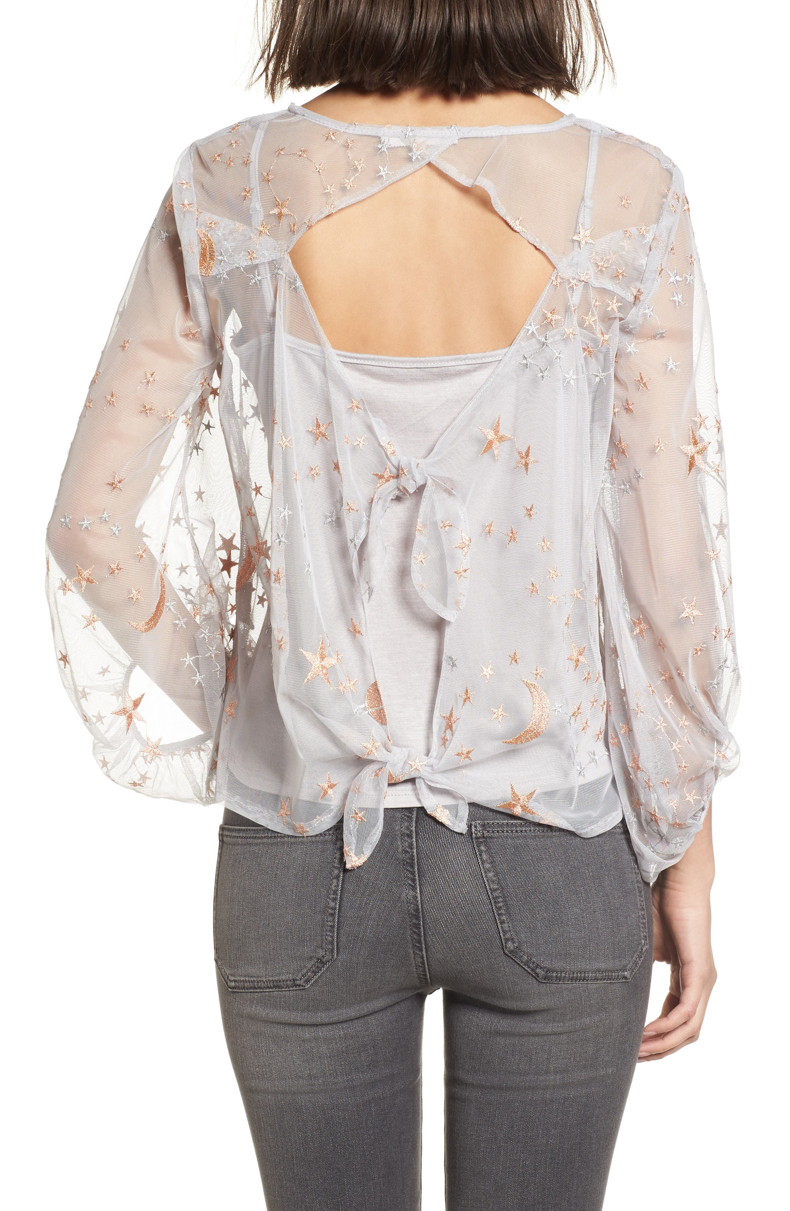 Embroidered Top,                             Alternate thumbnail 2, color,                             Silver