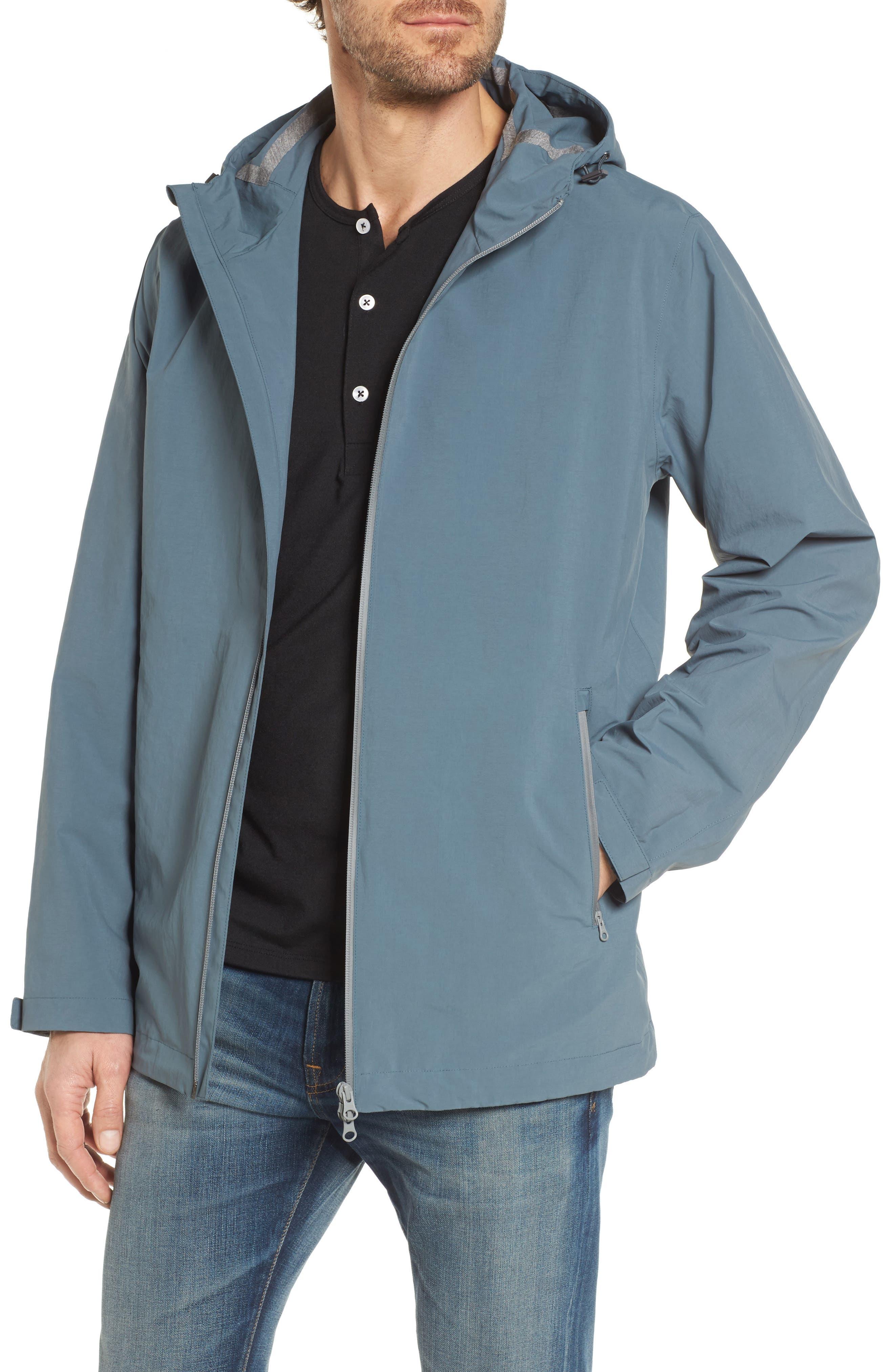 Plaster Hooded Raincoat,                         Main,                         color, Blue/ Grey