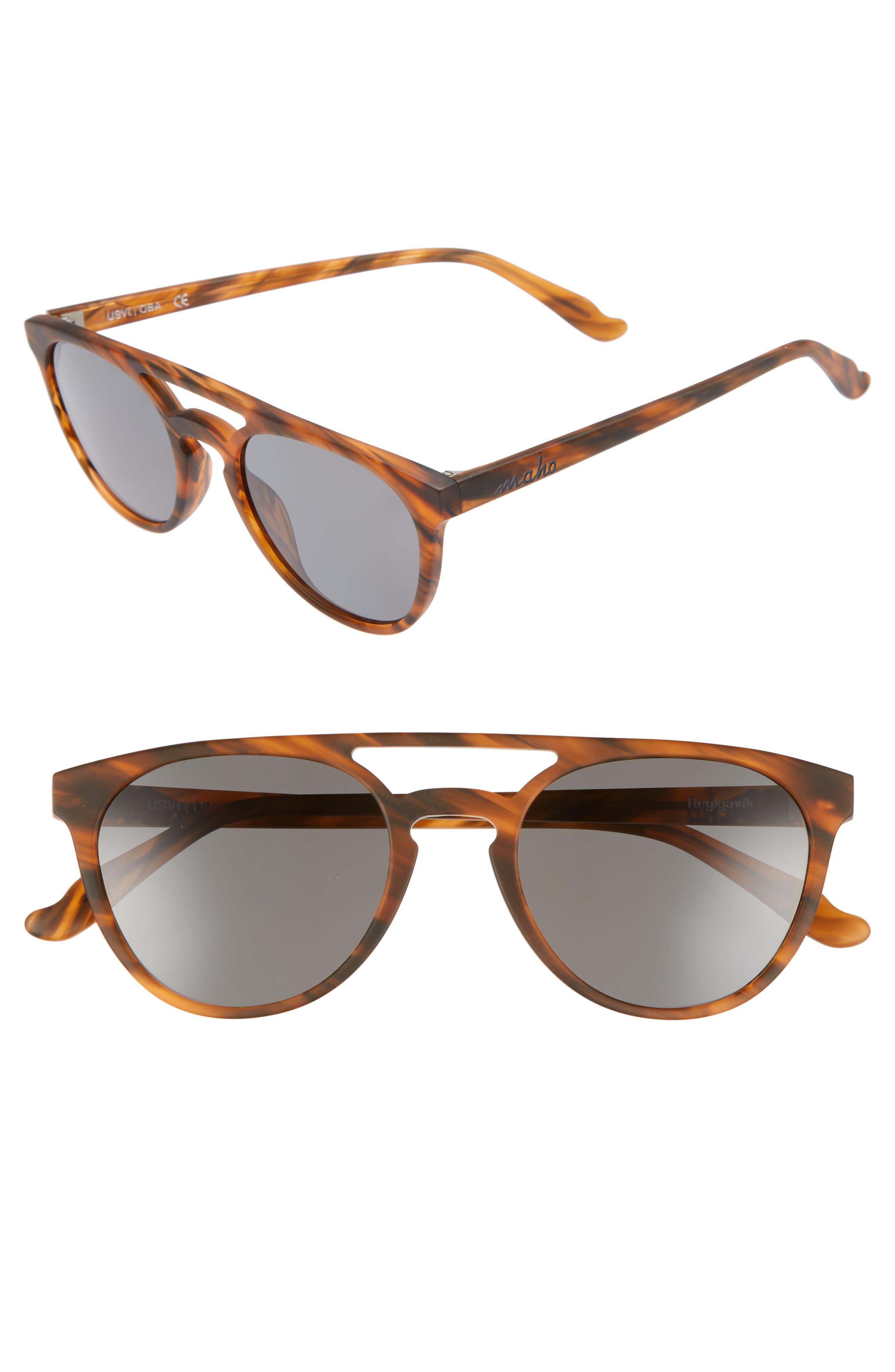 Reykjavík 49mm Polarized Round Sunglasses,                         Main,                         color, Whisky