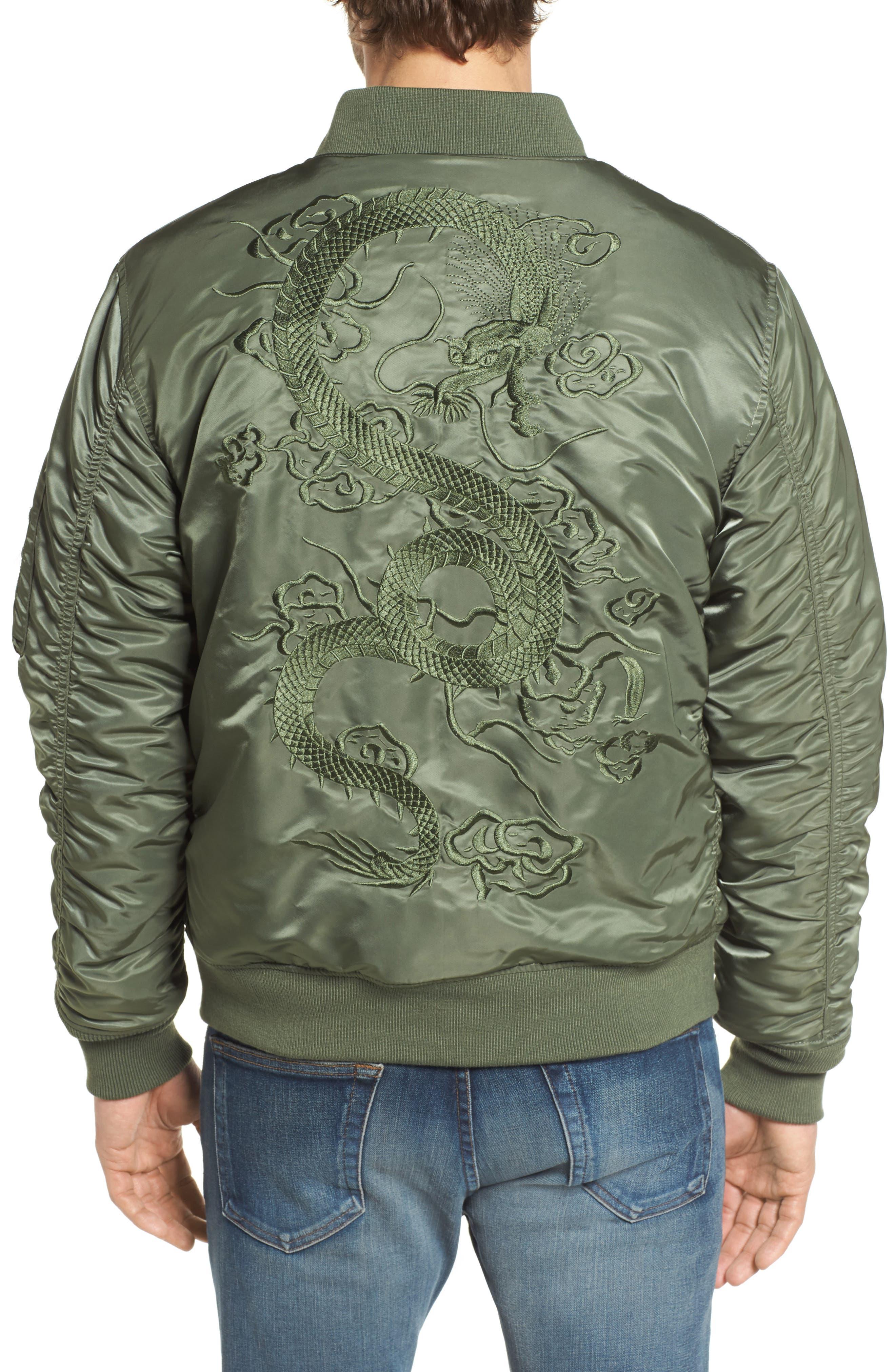 Dragon Embroidered Nylon Flight Jacket,                             Alternate thumbnail 2, color,                             Sage