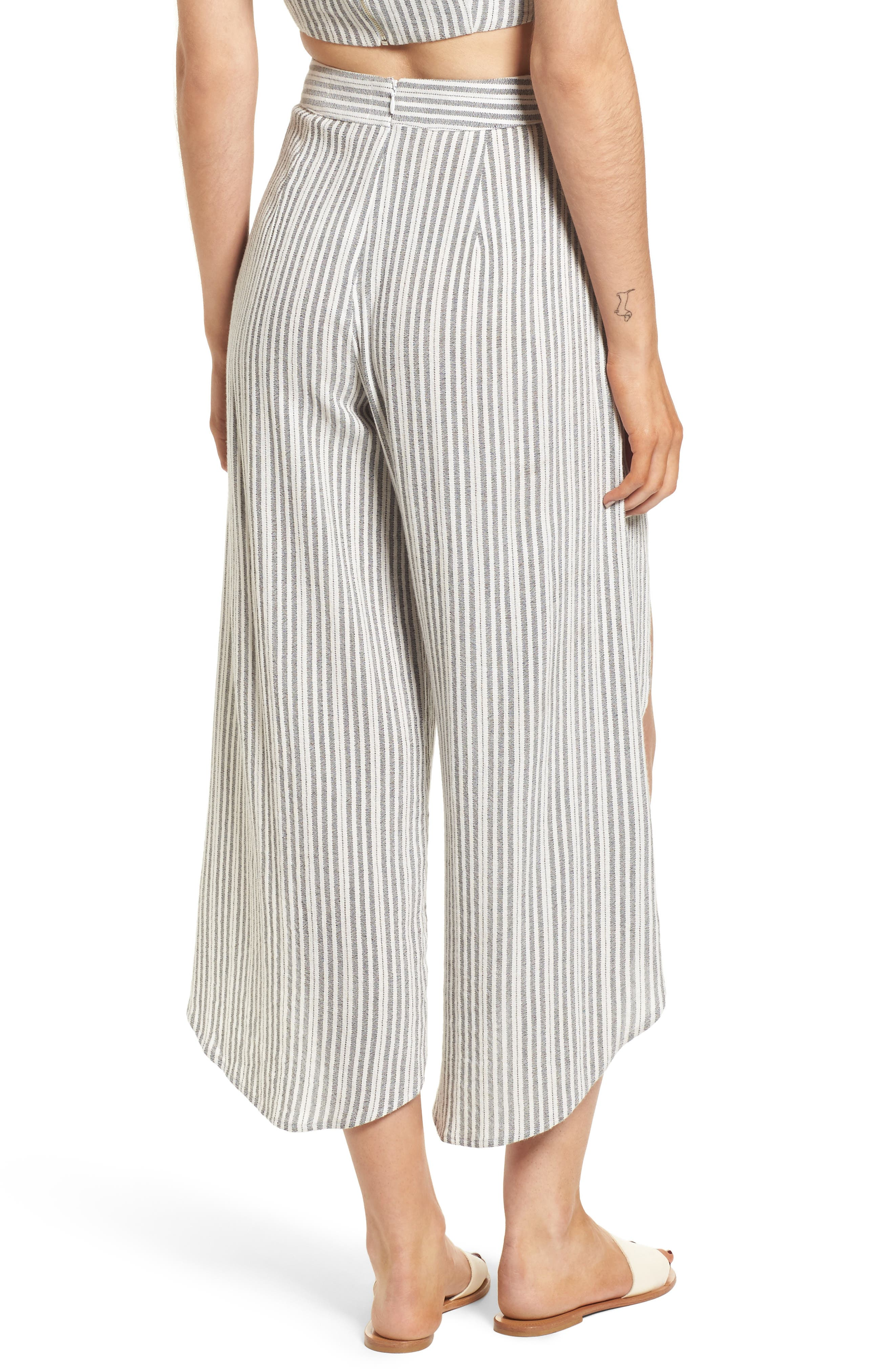 Kika Stripe Split Culottes,                             Alternate thumbnail 3, color,                             Grey