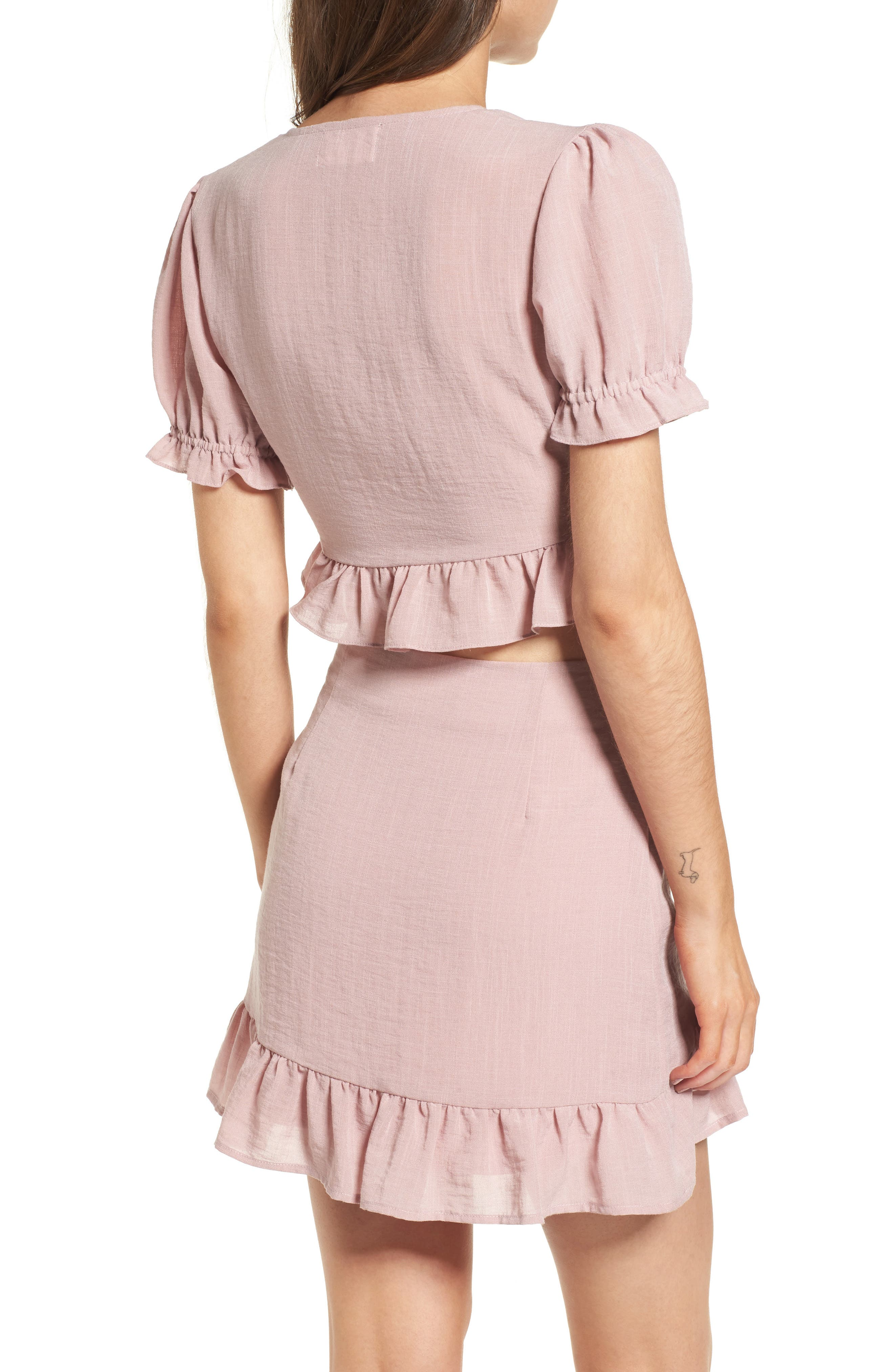 Peony Ruffle Tie Front Crop Top,                             Alternate thumbnail 3, color,                             Pink