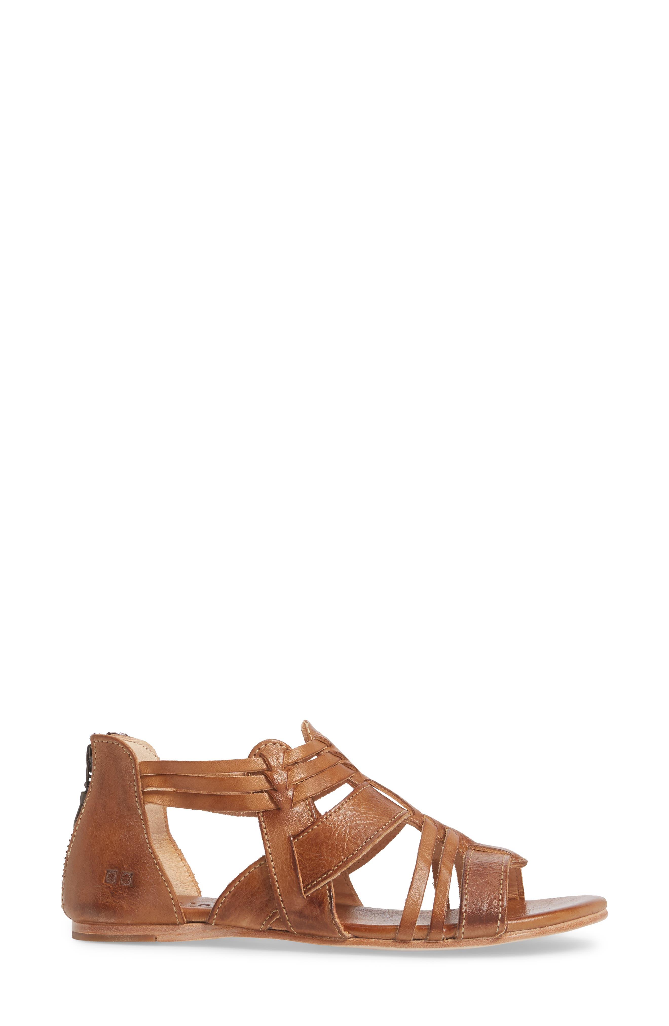 Cara Sandal,                             Alternate thumbnail 3, color,                             Tan Leather