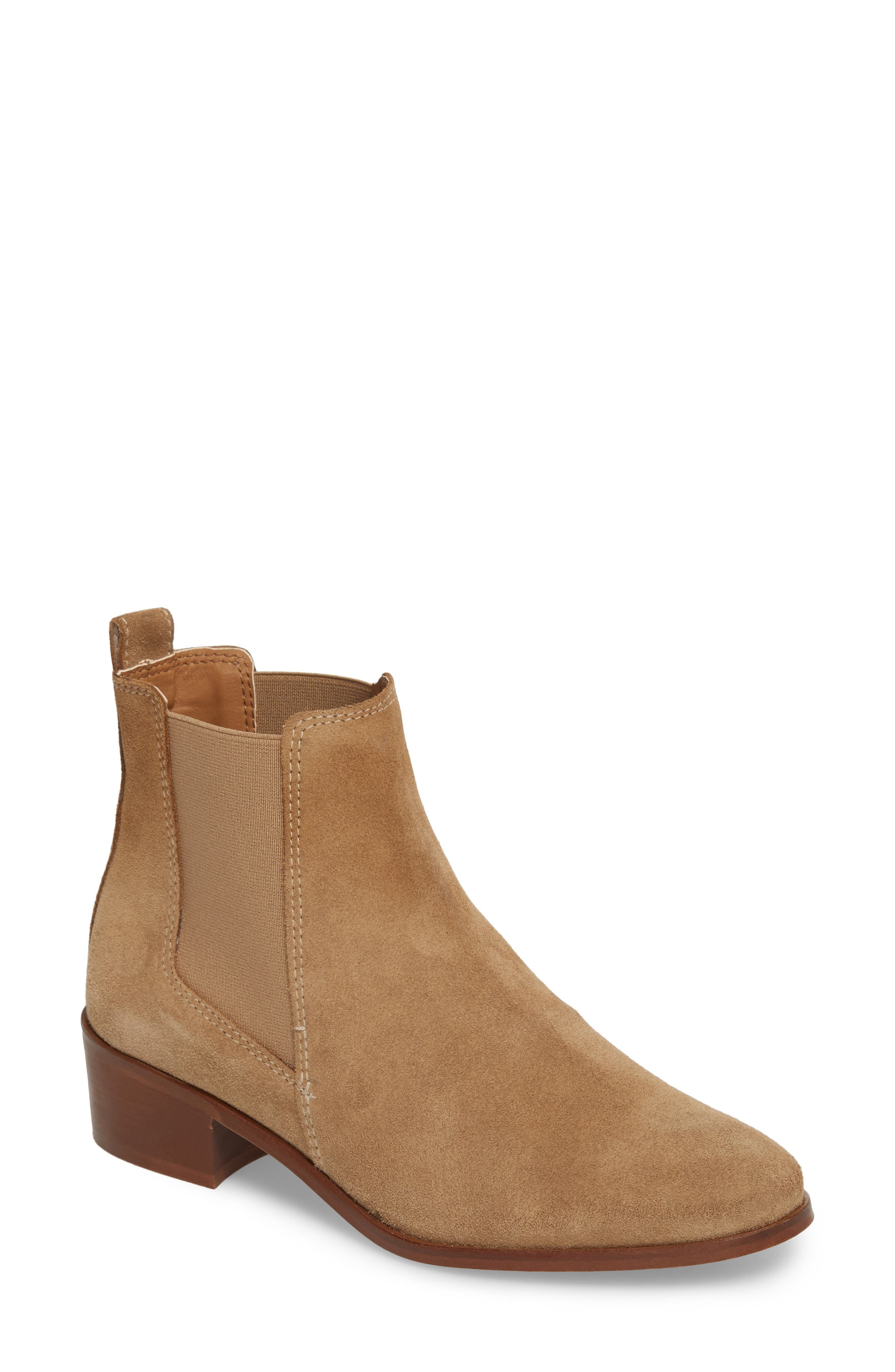 Dover Chelsea Bootie,                             Main thumbnail 1, color,                             Taupe Suede