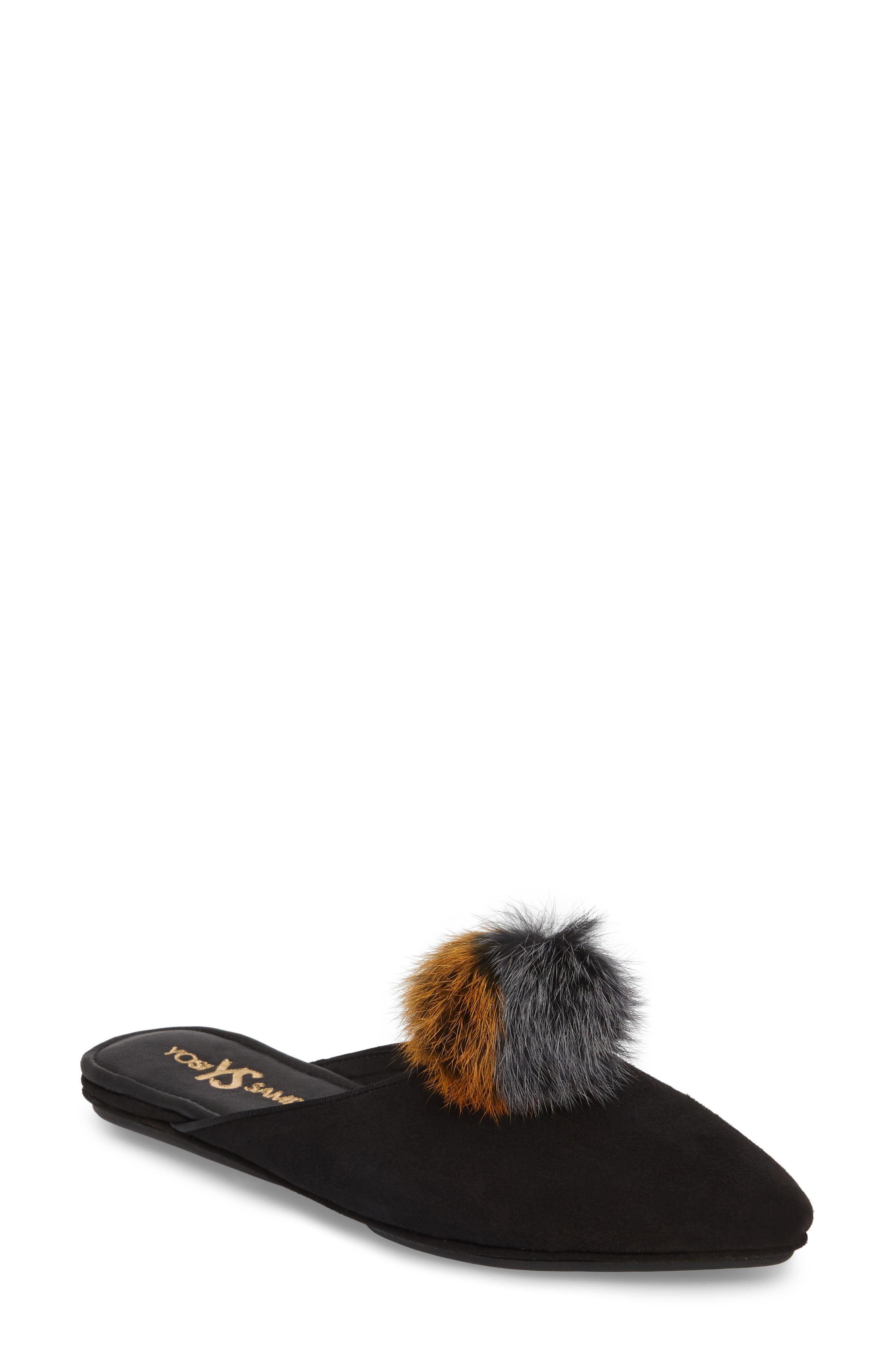 Vidi Genuine Rabbit Fur Loafer Mule,                         Main,                         color, Black Rabbit Fur