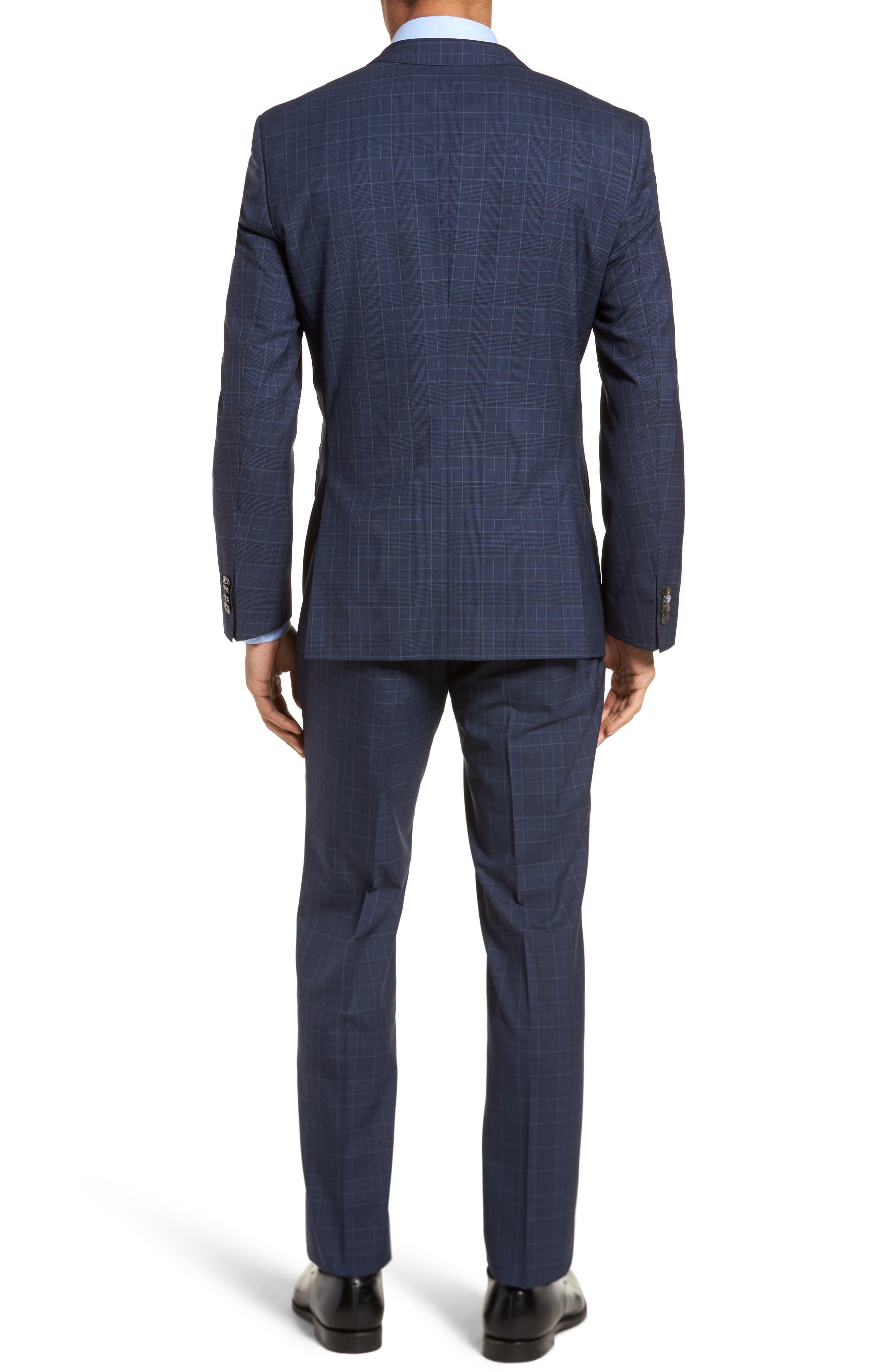 Hutson/Gander Trim Fit Plaid Wool Suit,                             Alternate thumbnail 2, color,                             Navy