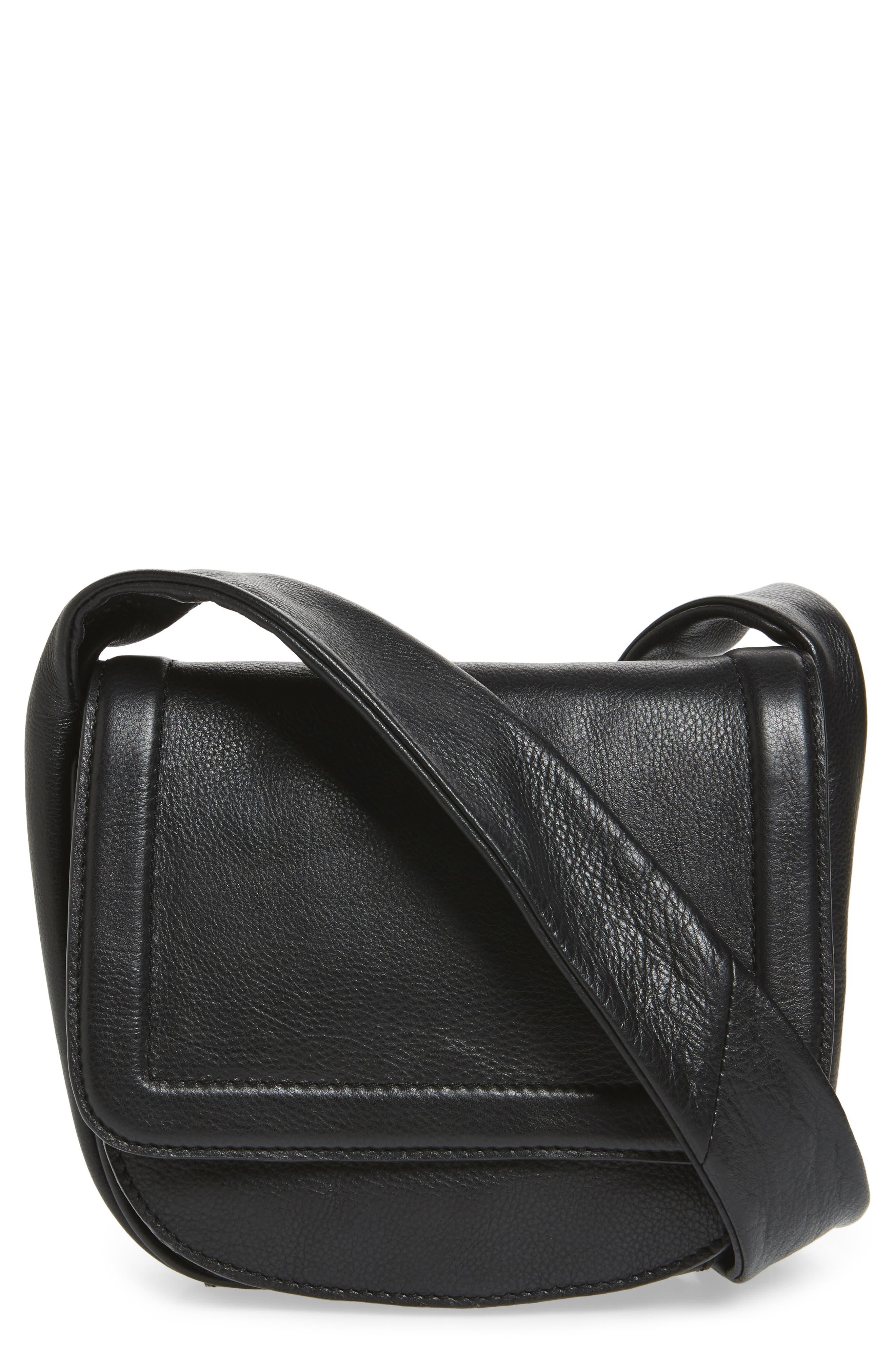 Jasmine Leather Saddle Bag,                         Main,                         color, Black