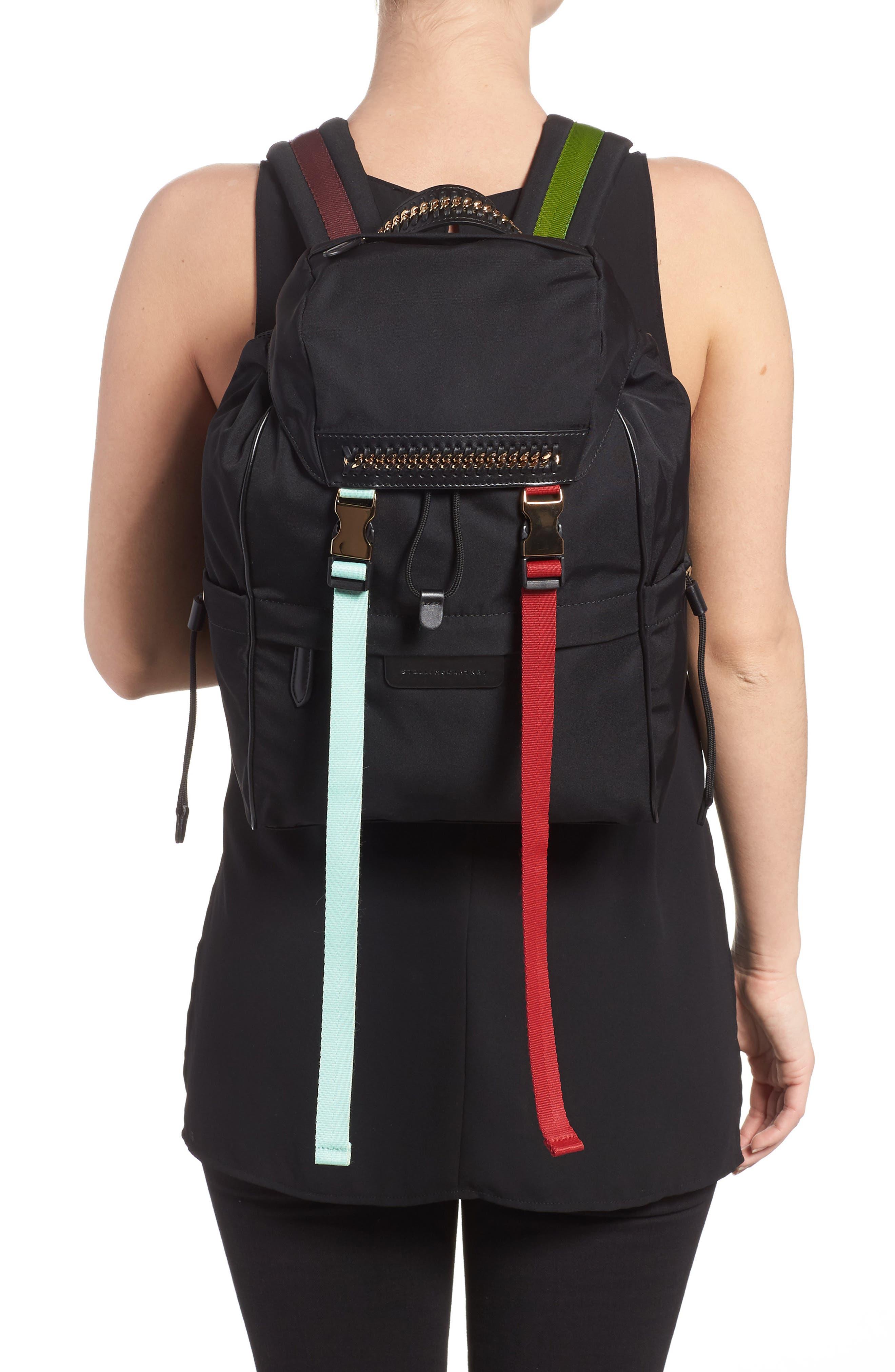 Small Eco Nylon Backpack,                             Alternate thumbnail 2, color,                             Black Multi