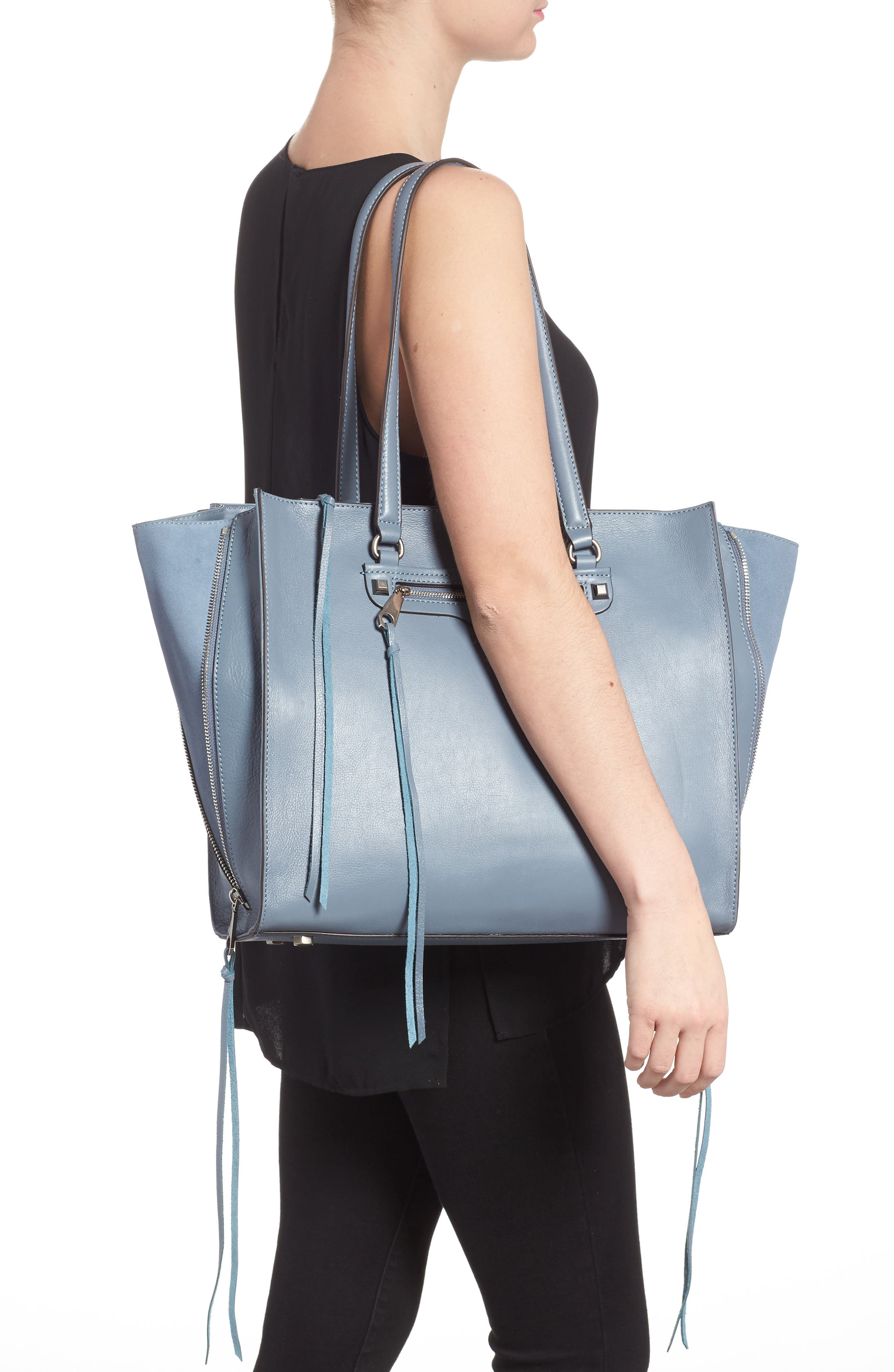 Always On Regan Leather Tote,                             Alternate thumbnail 2, color,                             Dusty Blue