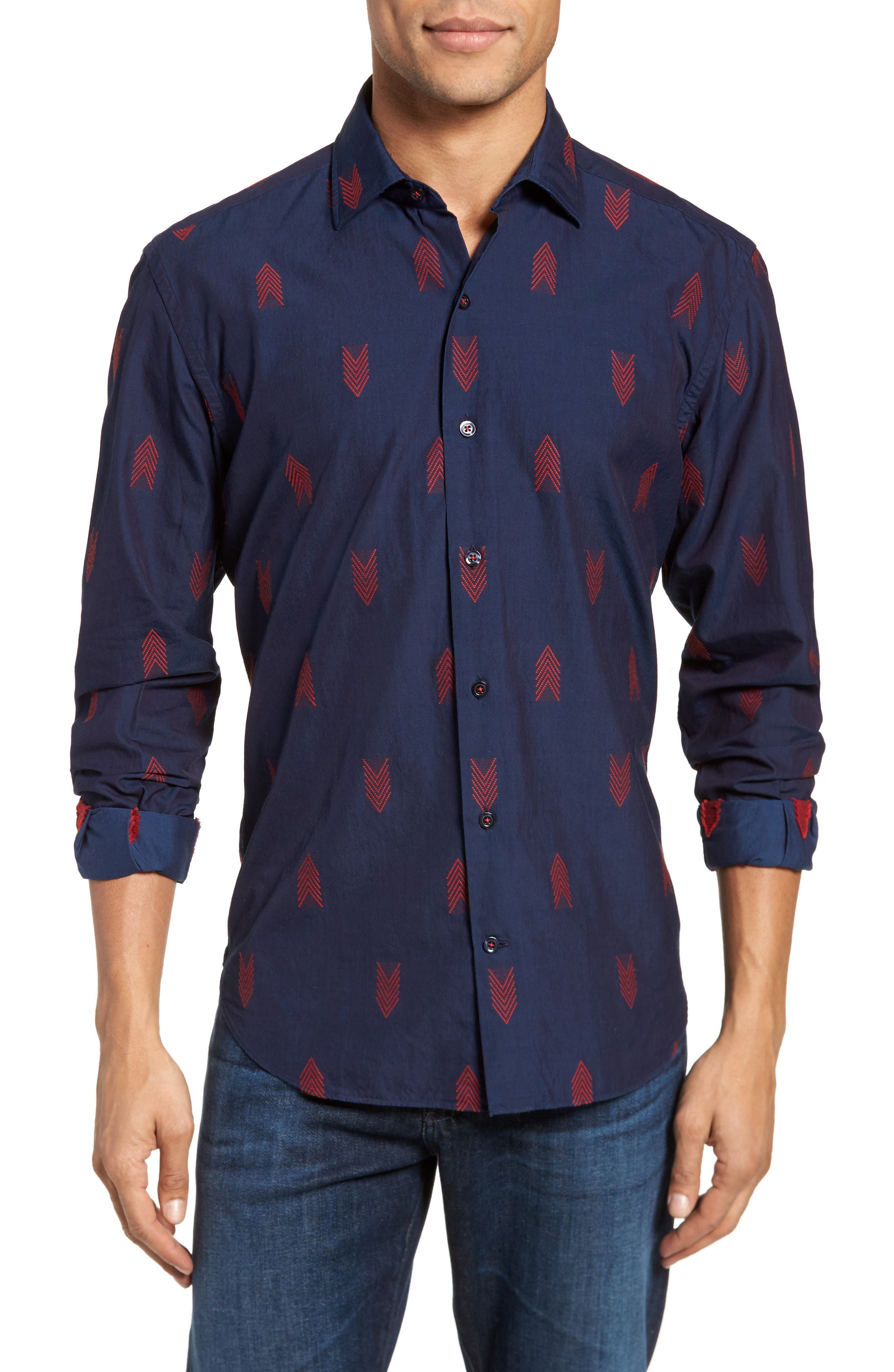 Slim Fit Embroidered Sport Shirt,                             Main thumbnail 1, color,                             Navy
