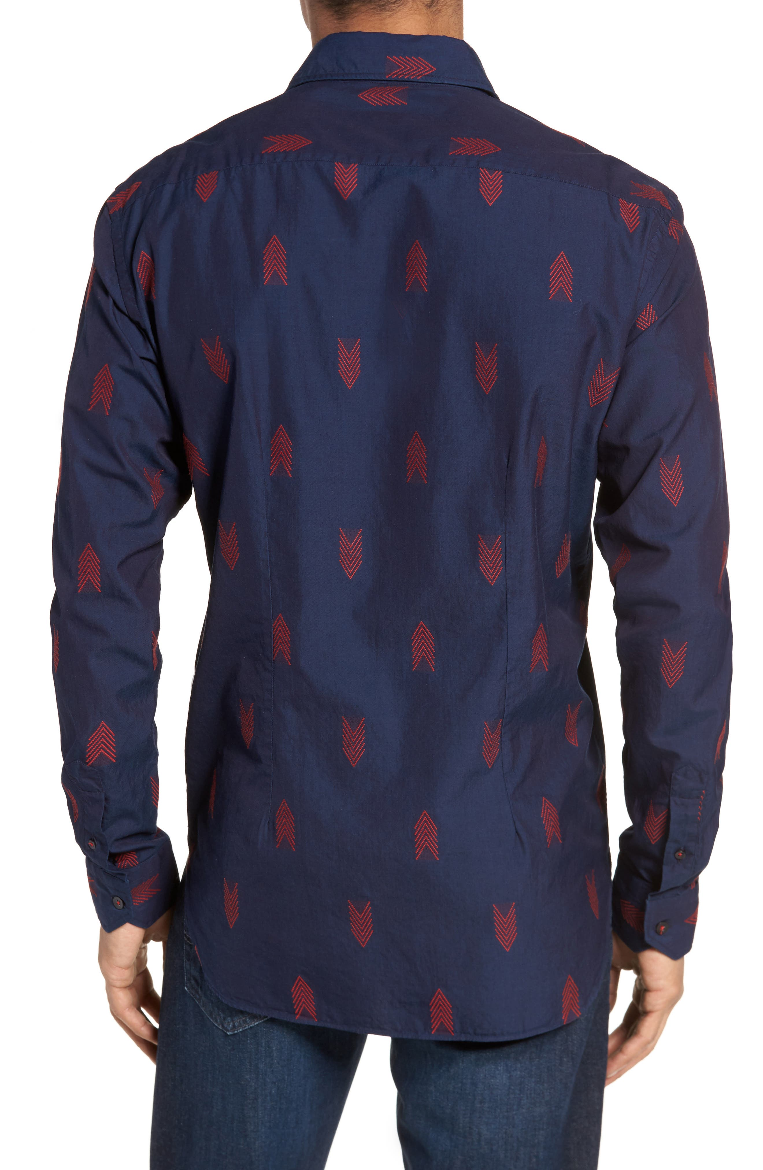 Slim Fit Embroidered Sport Shirt,                             Alternate thumbnail 3, color,                             Navy
