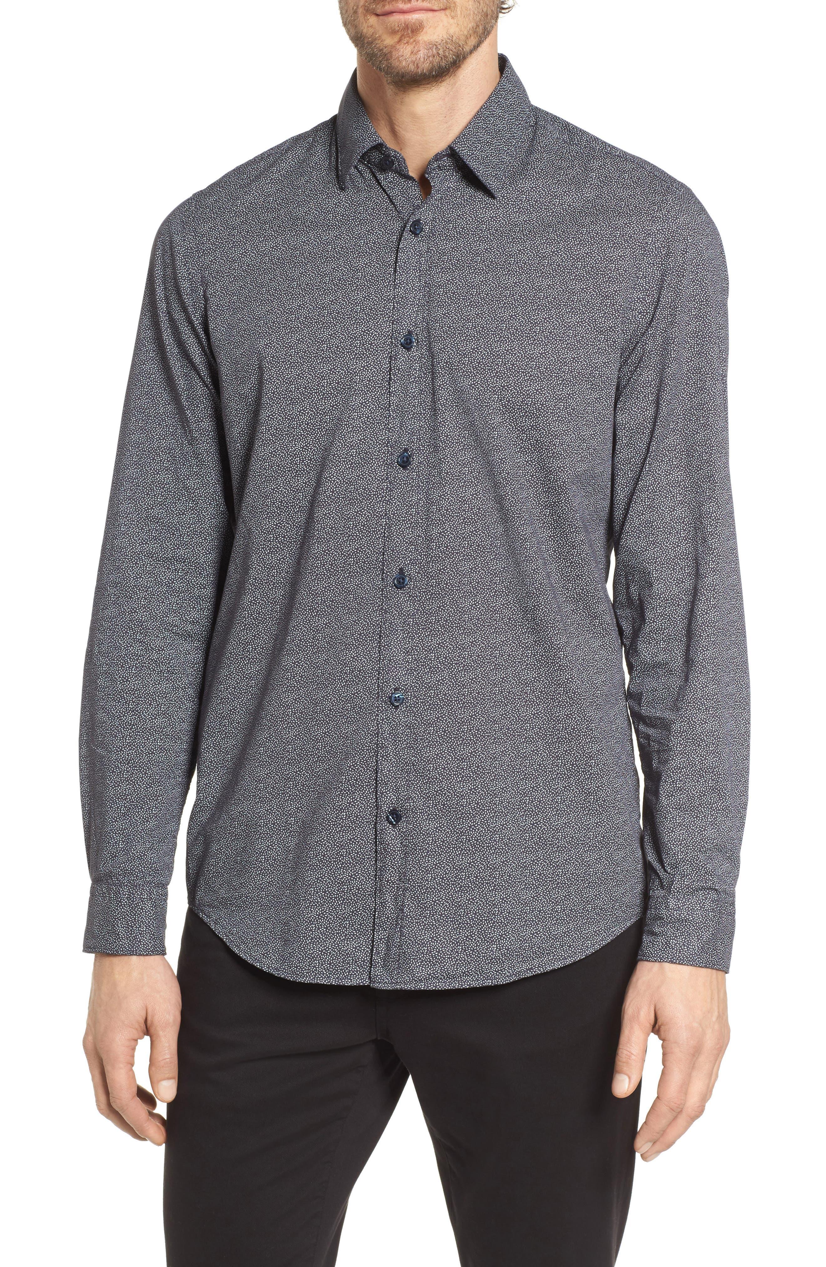 Lukas Regular Fit Print Sport Shirt,                             Main thumbnail 1, color,                             Blue