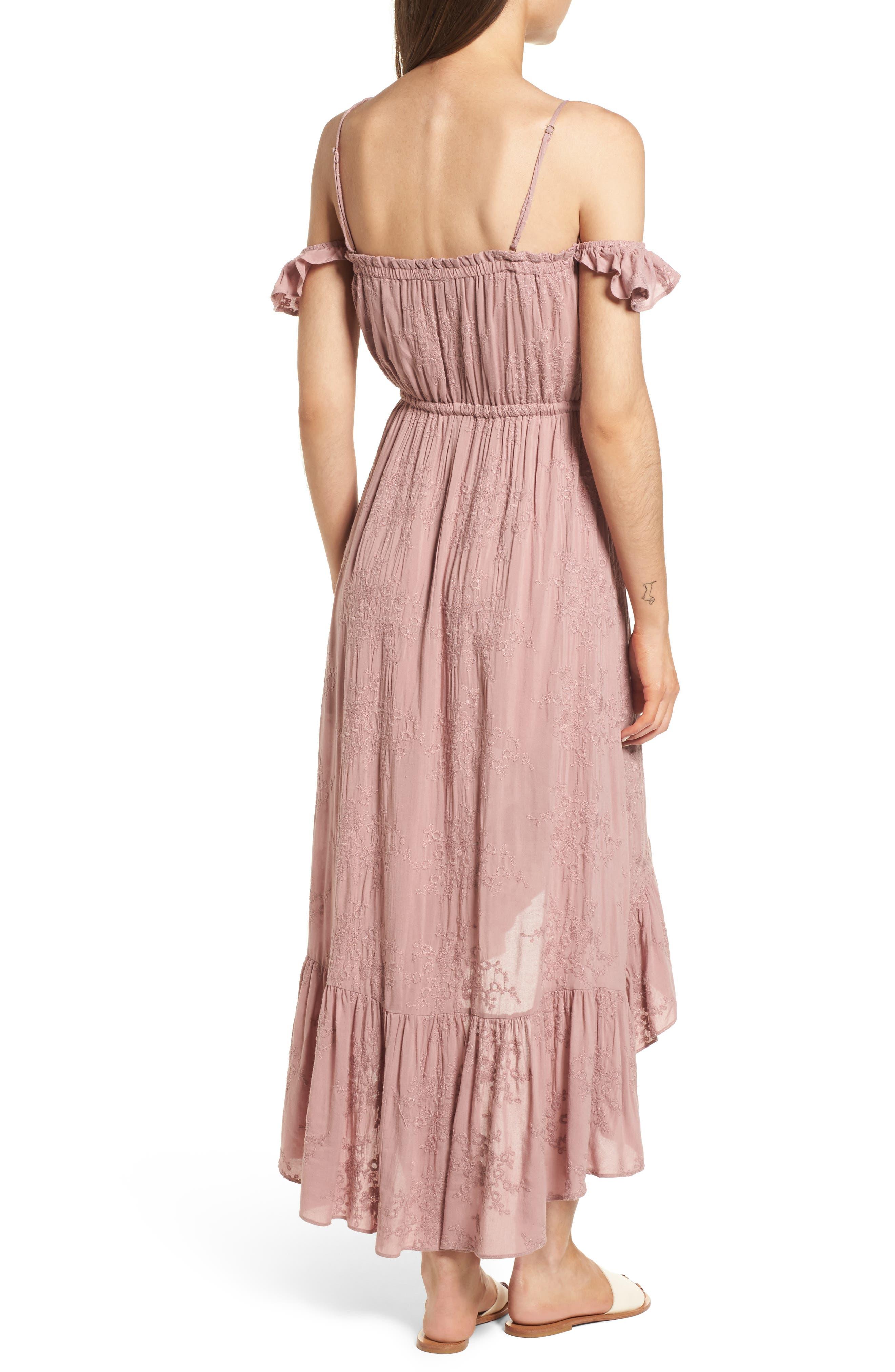 Rose Cold Shoulder High/Low Dress,                             Alternate thumbnail 3, color,                             Rosy Pink