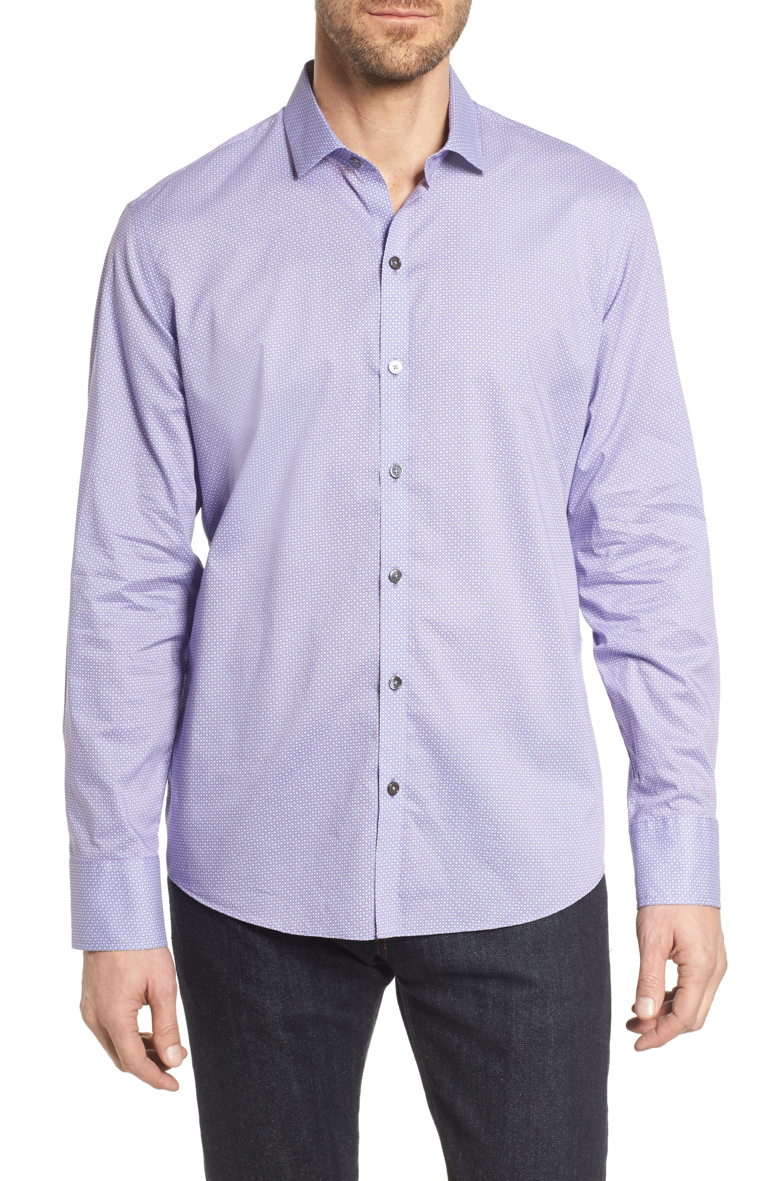 O'Malley Circle Print Sport Shirt,                         Main,                         color, Purple
