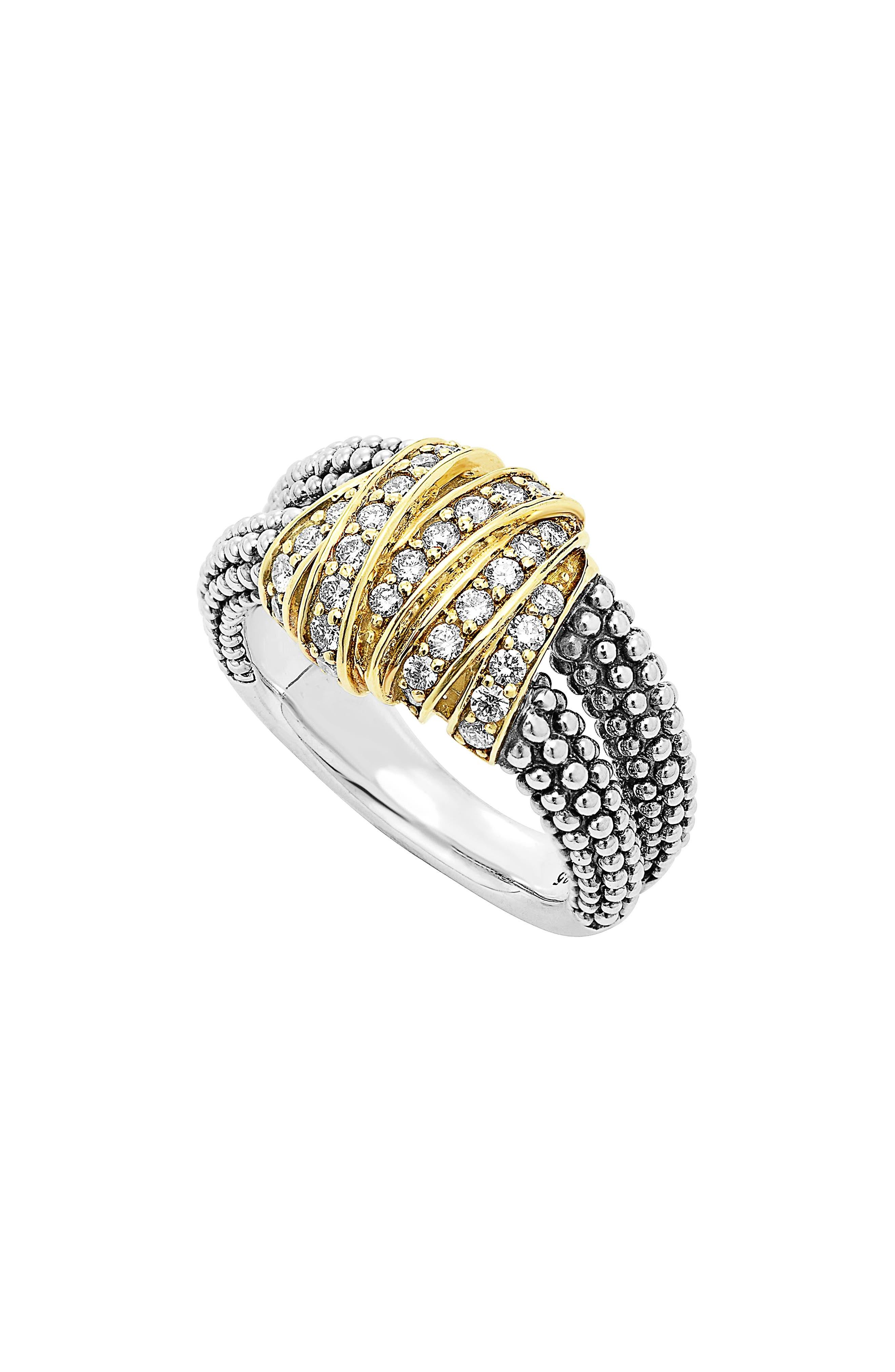 'Diamonds & Caviar' Medium Diamond Ring,                             Main thumbnail 1, color,                             Sterling Silver/ Gold