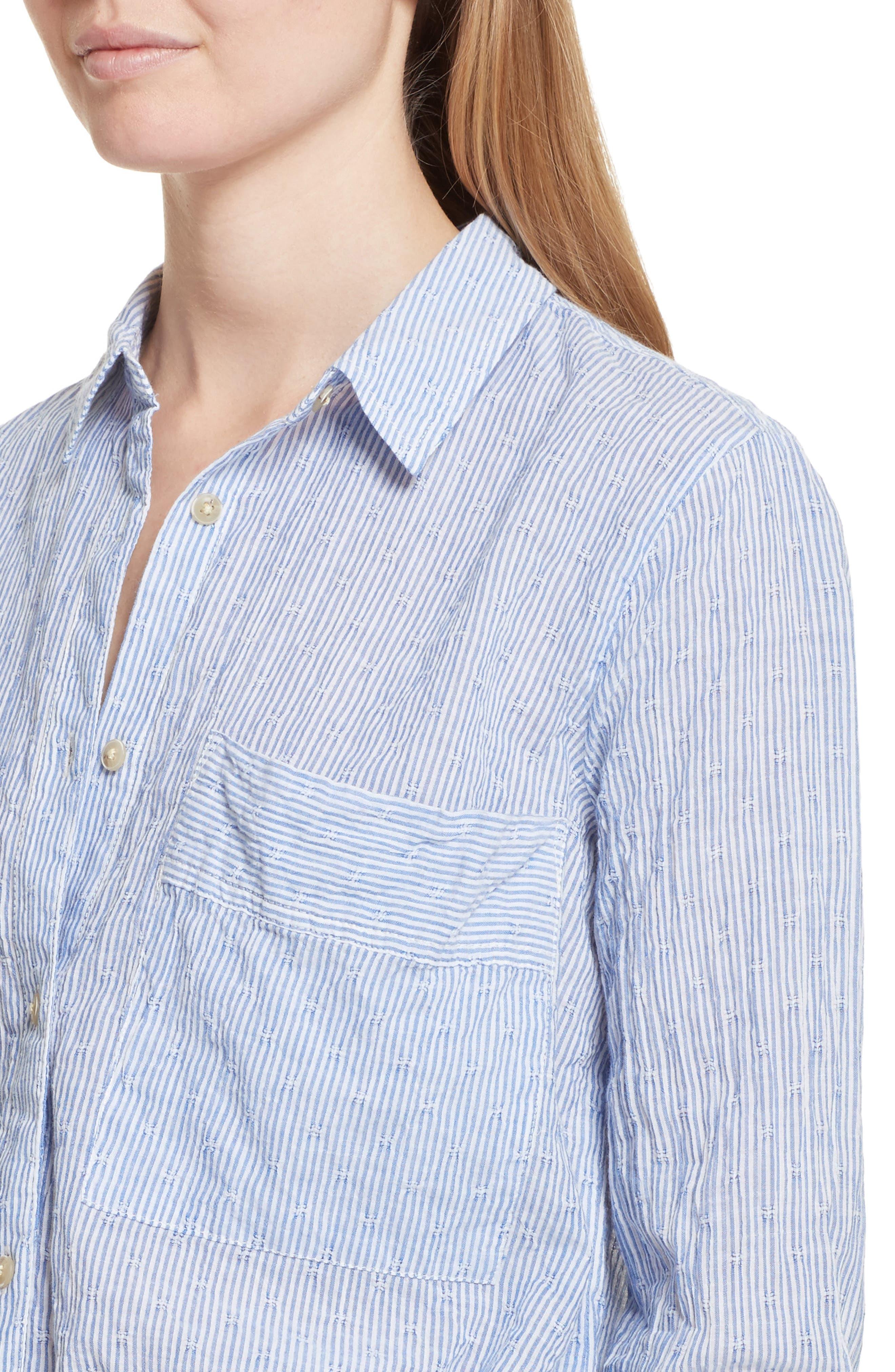 No Limits Stripe Stretch Cotton Shirt,                             Alternate thumbnail 4, color,                             Blue