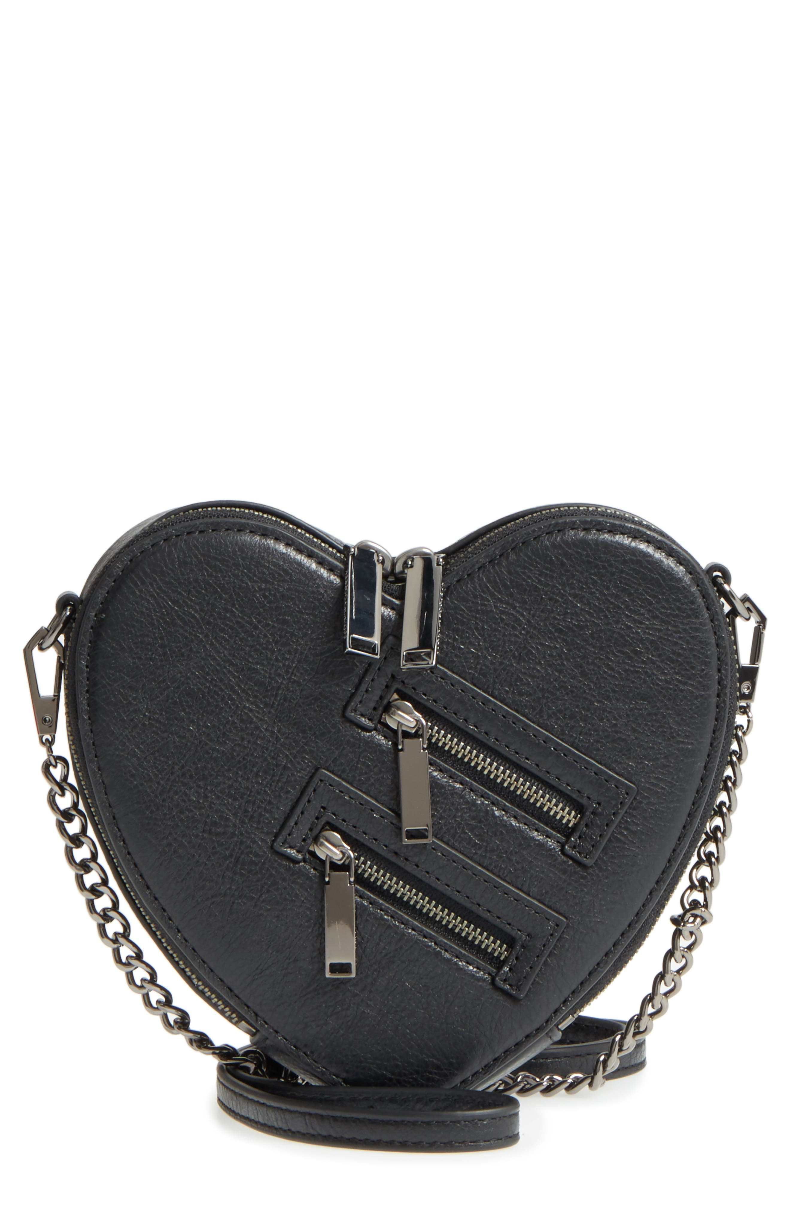 Jamie Heart Leather Crossbody Bag,                         Main,                         color, Black