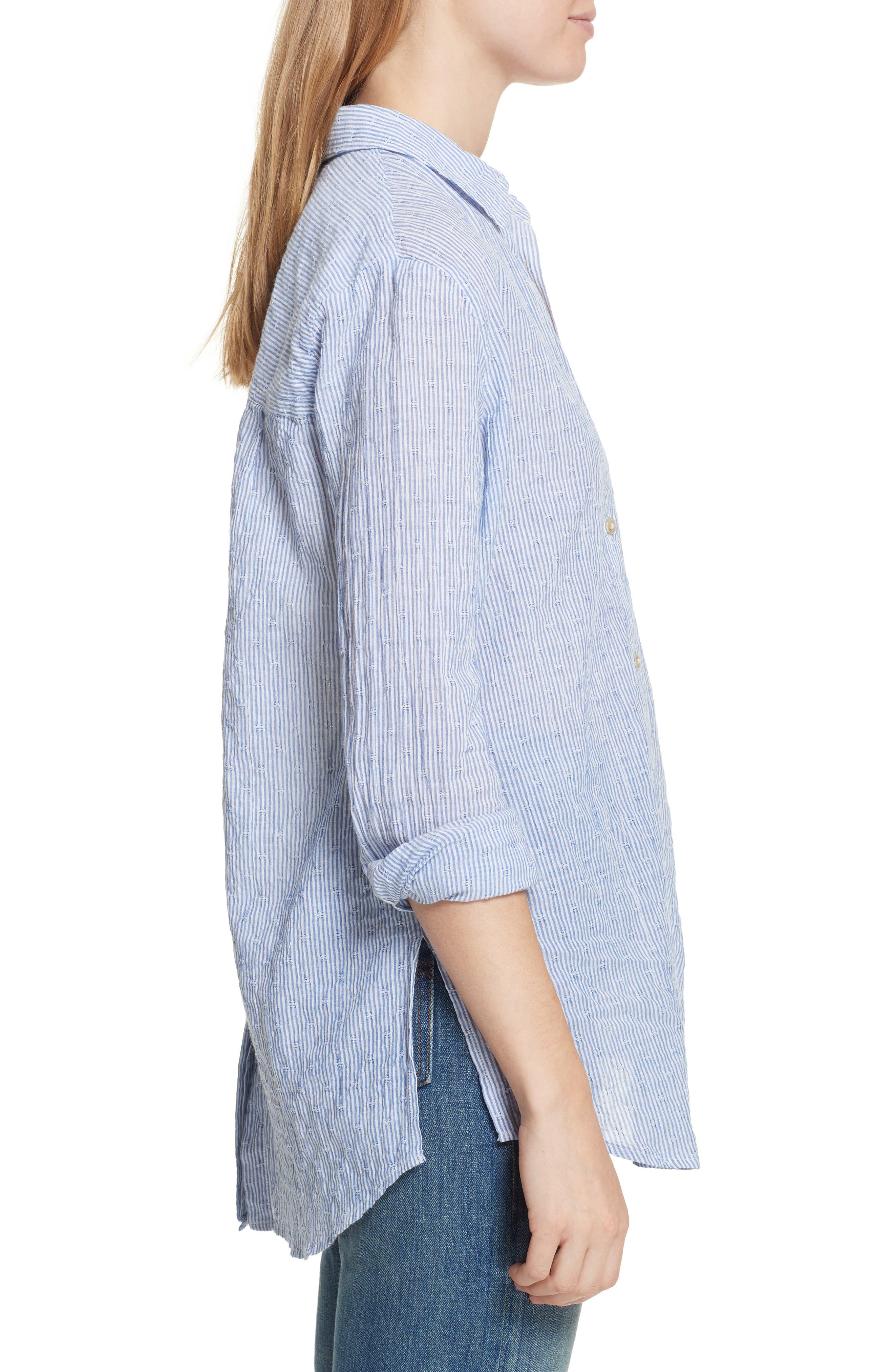 No Limits Stripe Stretch Cotton Shirt,                             Alternate thumbnail 3, color,                             Blue