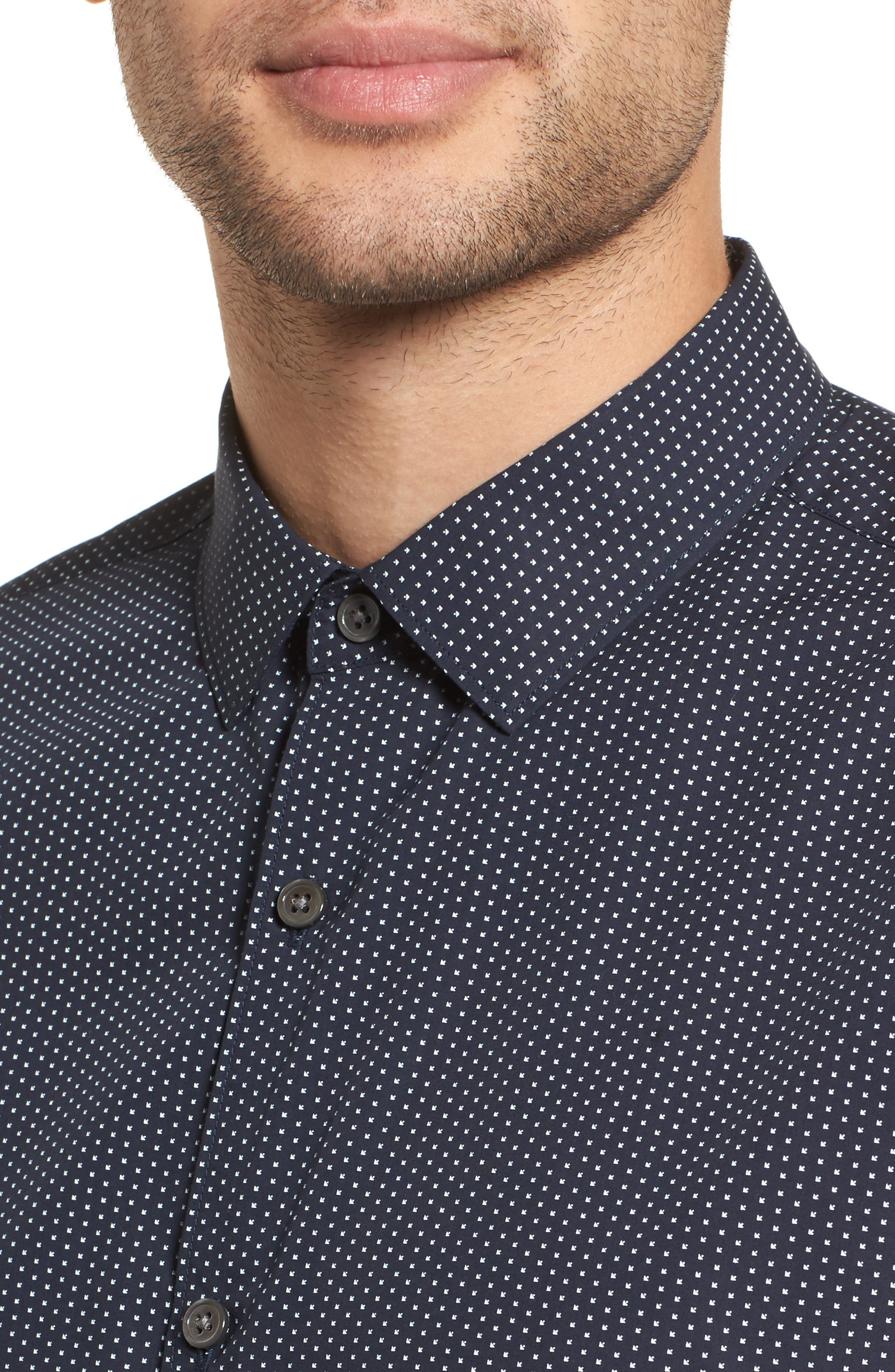 Murray Slim Fit Sport Shirt,                             Alternate thumbnail 4, color,                             Eclipse