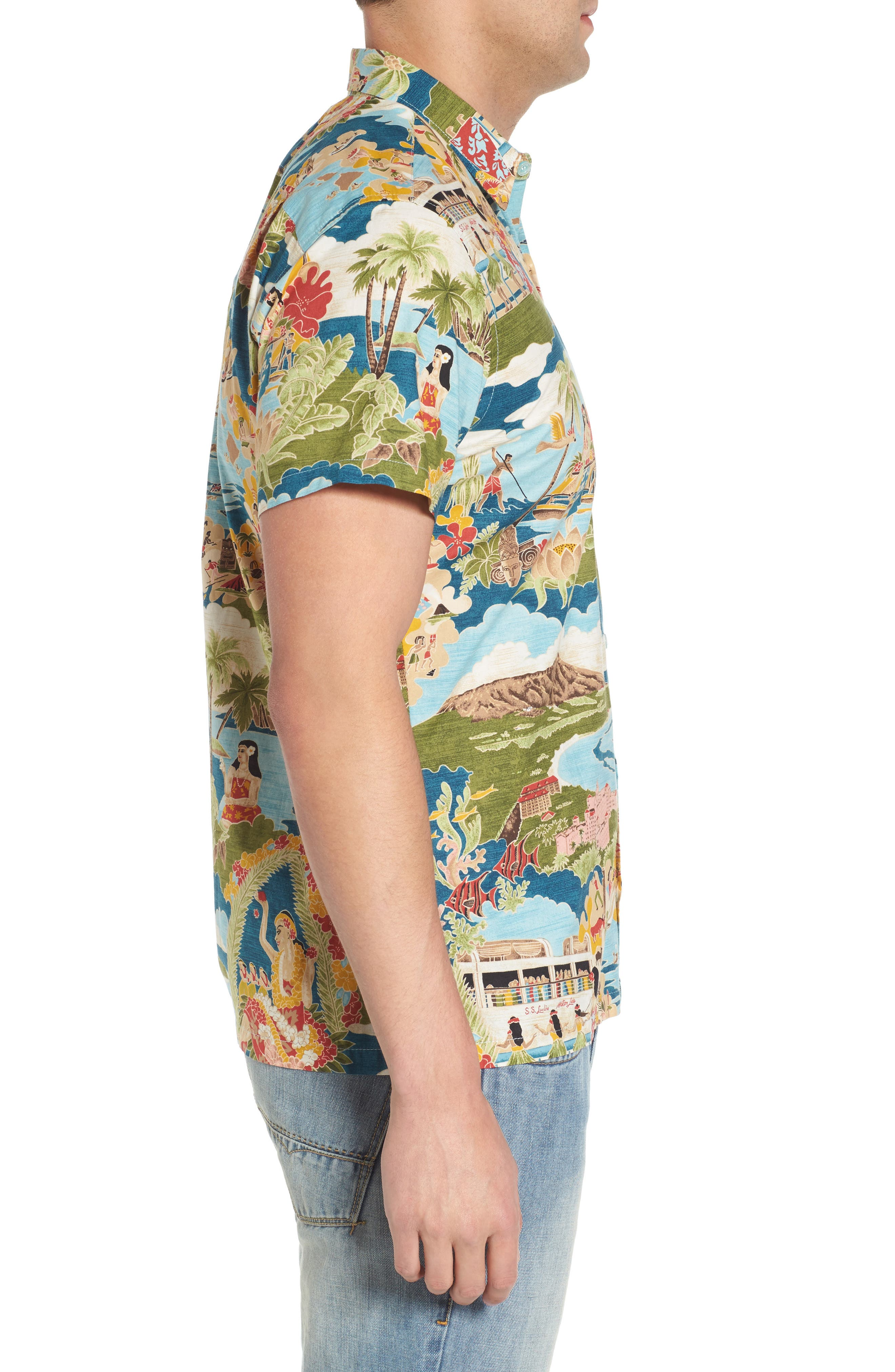 Boat Day Aloha Sport Shirt,                             Alternate thumbnail 3, color,                             Lagoon
