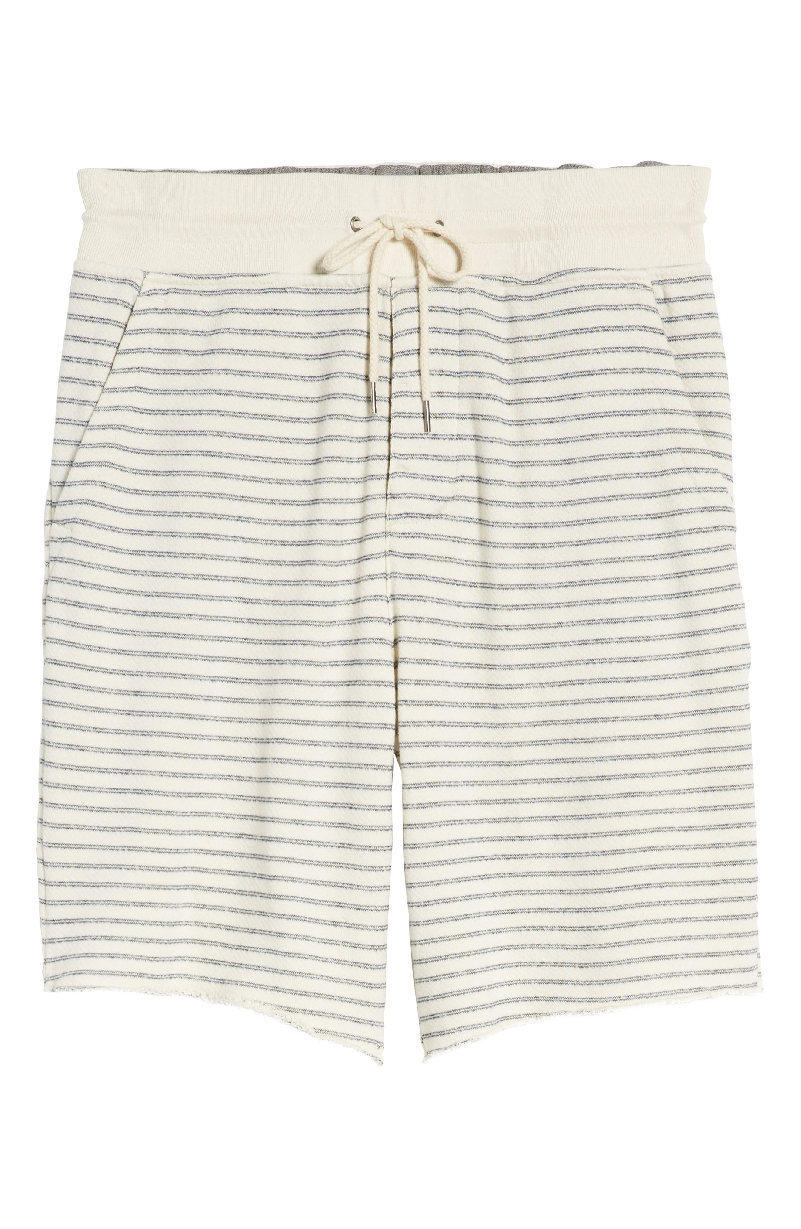 Dalton Stripe Drawcord Terry Shorts,                             Alternate thumbnail 6, color,                             White/ Navy Stripe