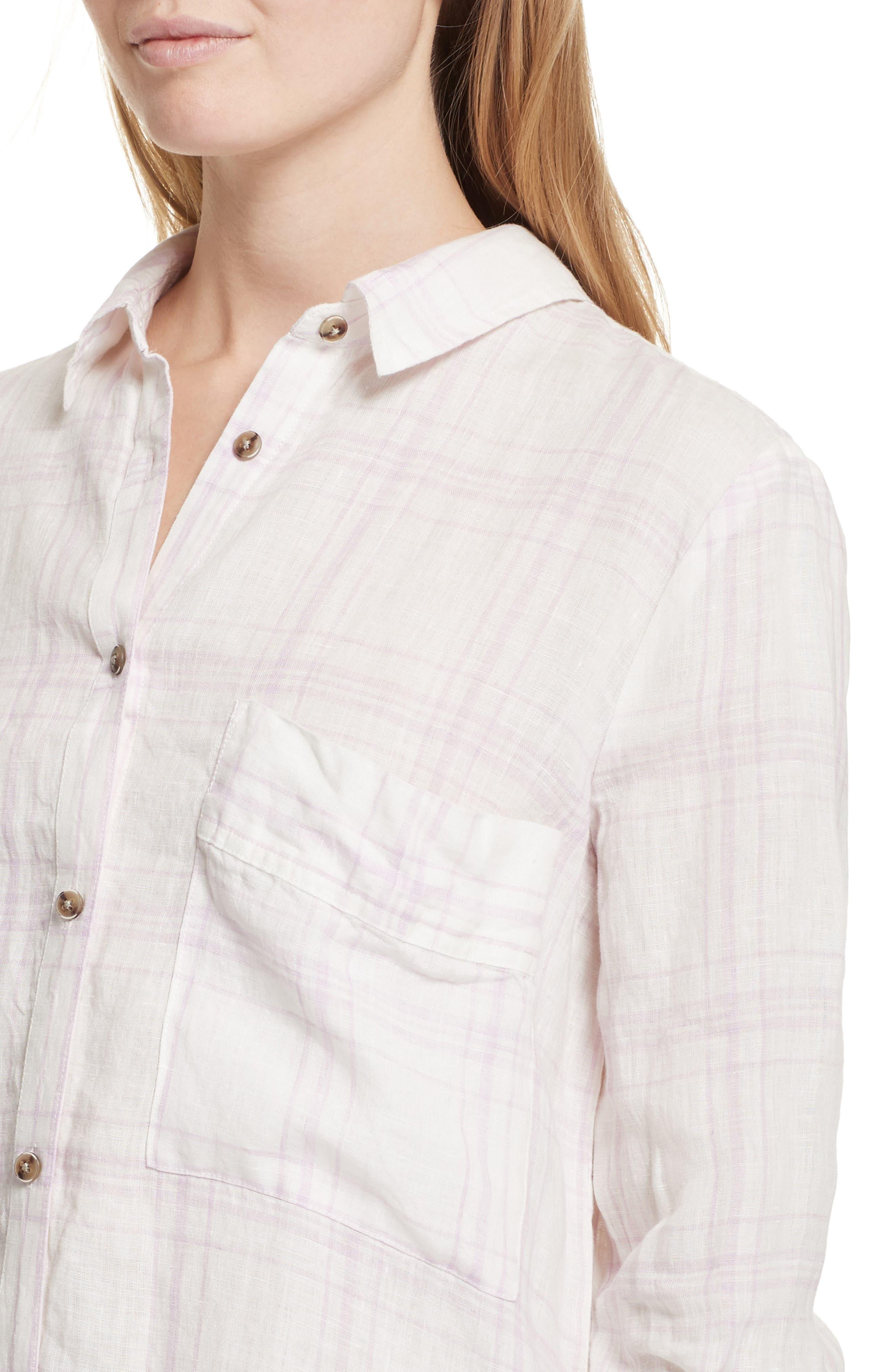 No Limits Plaid Linen Shirt,                             Alternate thumbnail 4, color,                             Lilac