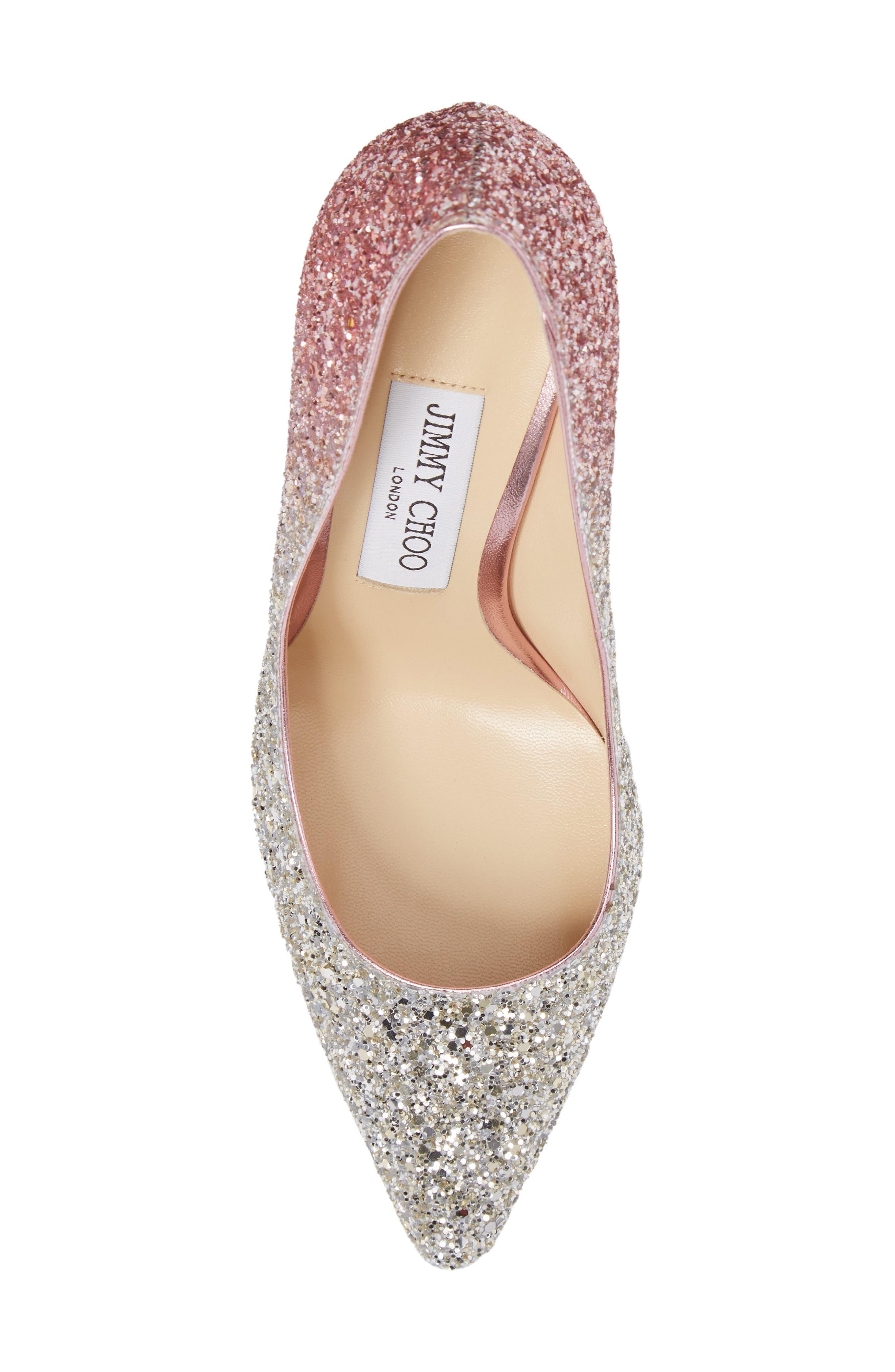 'Romy' Pointy Toe Pump,                             Alternate thumbnail 5, color,                             Platinum/ Flamingo Pink