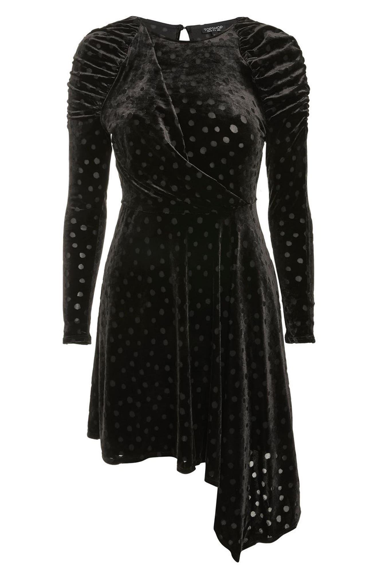 Polka Dot Velvet Burnout Dress,                             Alternate thumbnail 4, color,                             Black