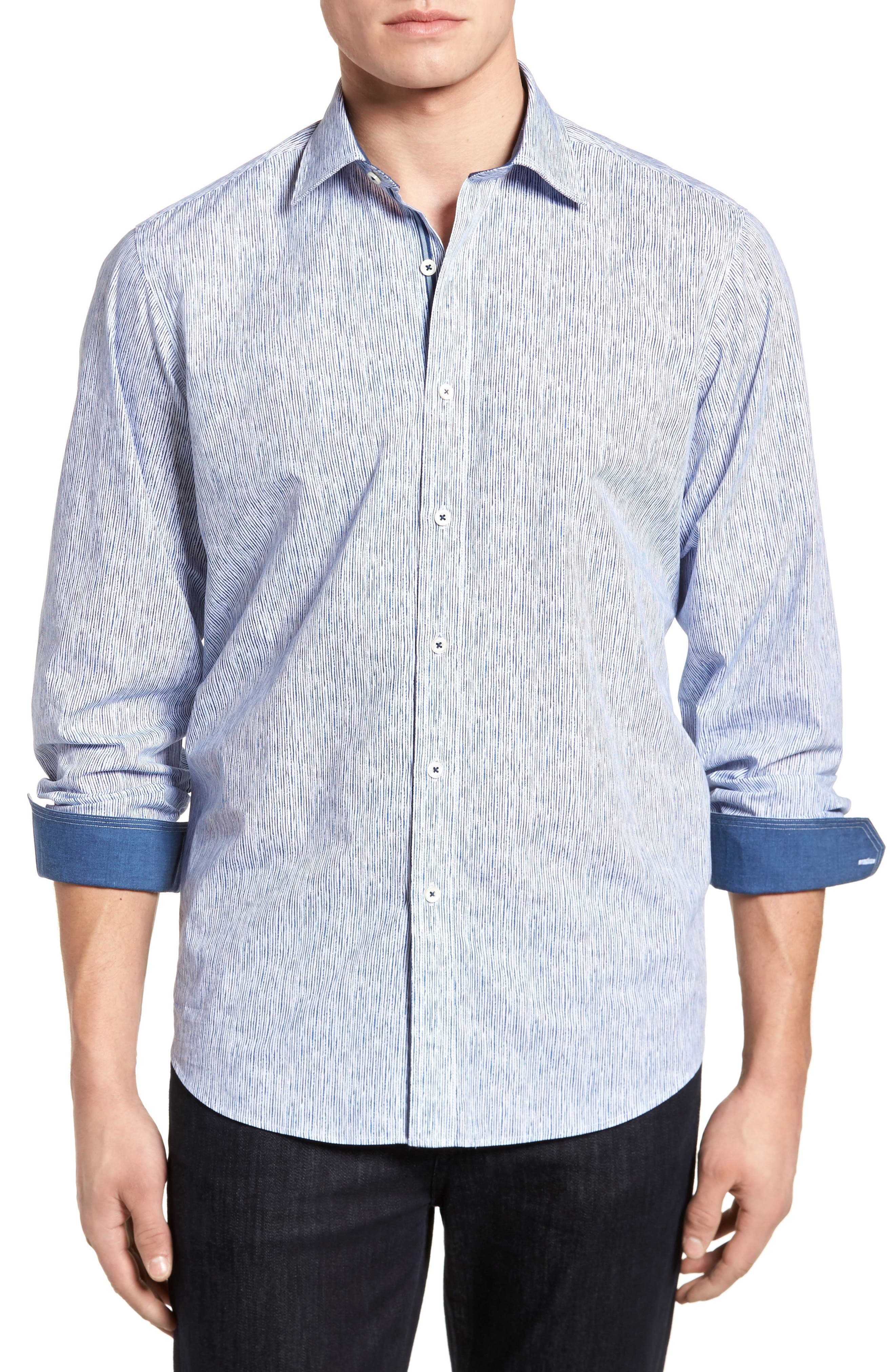 Freehand Pin Lines Classic Fit Sport Shirt,                         Main,                         color, Classic Blue