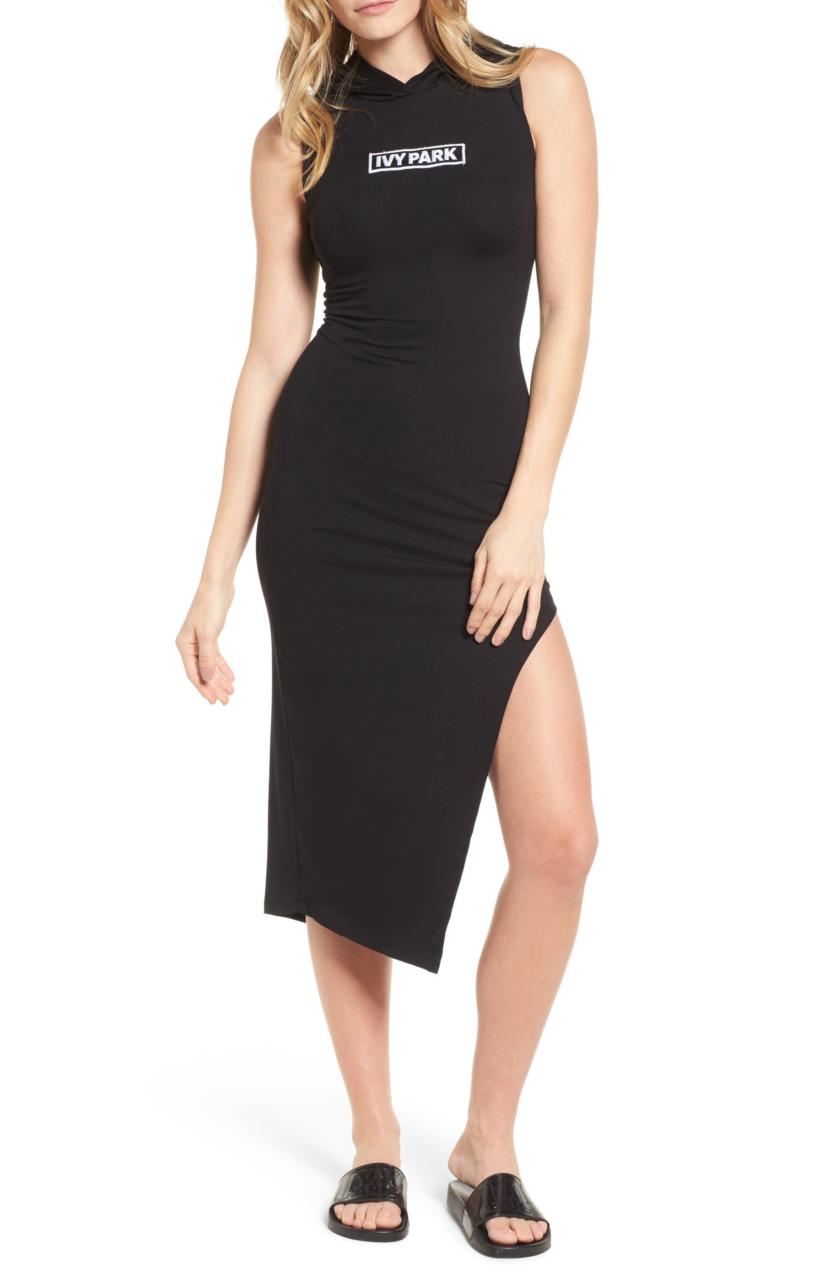 Lace-Up Back Hooded Dress,                         Main,                         color, Black