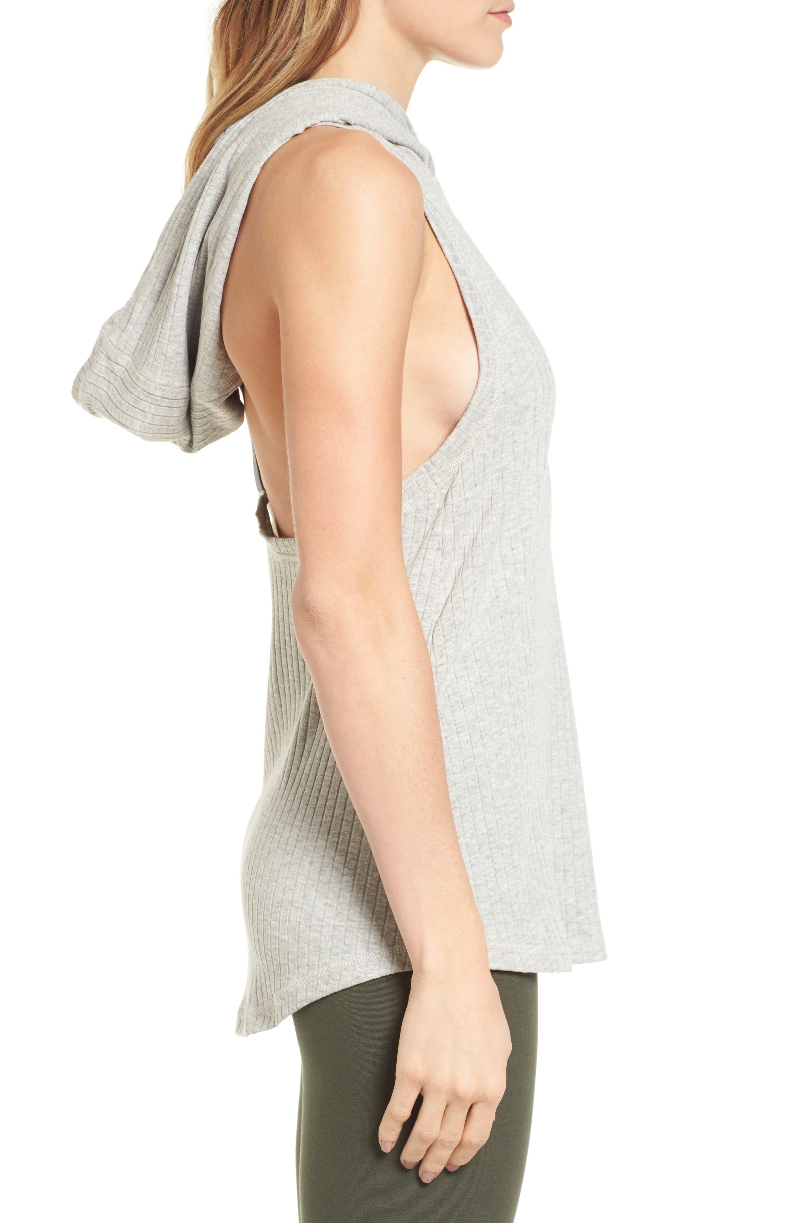 Hooded Rib Knit Tank,                             Alternate thumbnail 4, color,                             Grey Marl