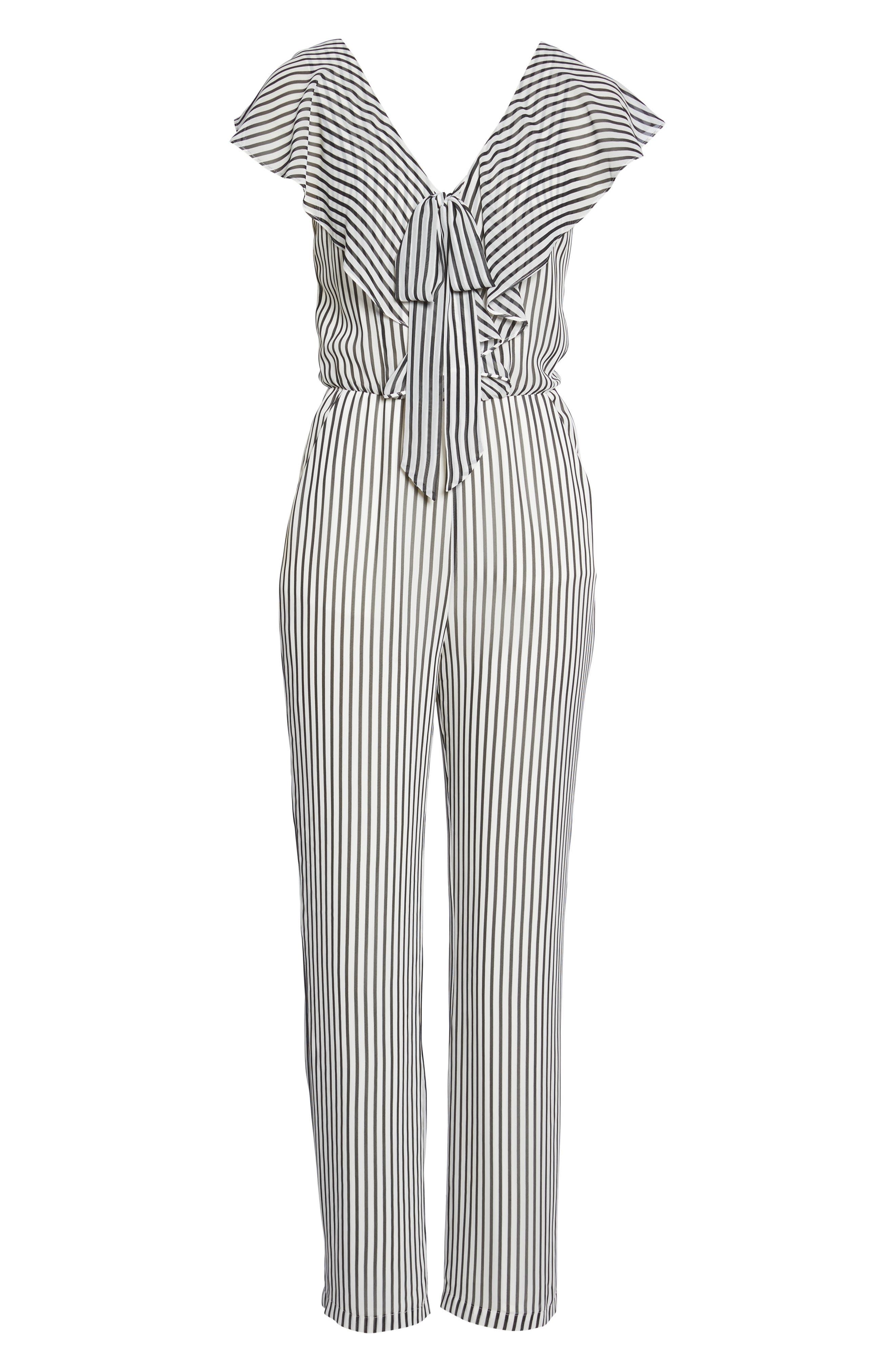 Cherry on Top Stripe Ruffle Jumpsuit,                             Alternate thumbnail 7, color,                             Black/ White Stripe