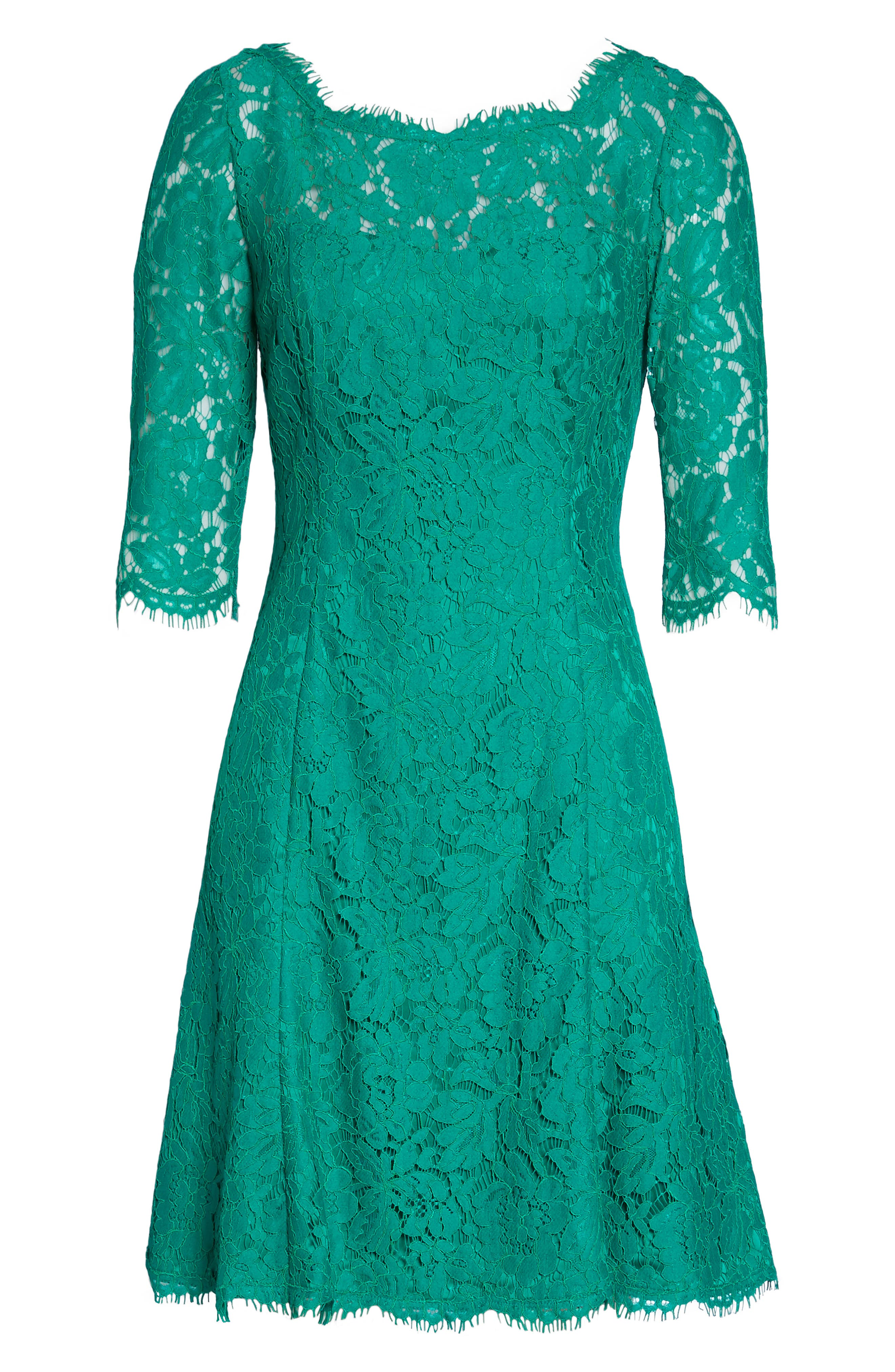 Lace Fit & Flare Dress,                             Alternate thumbnail 6, color,                             Green
