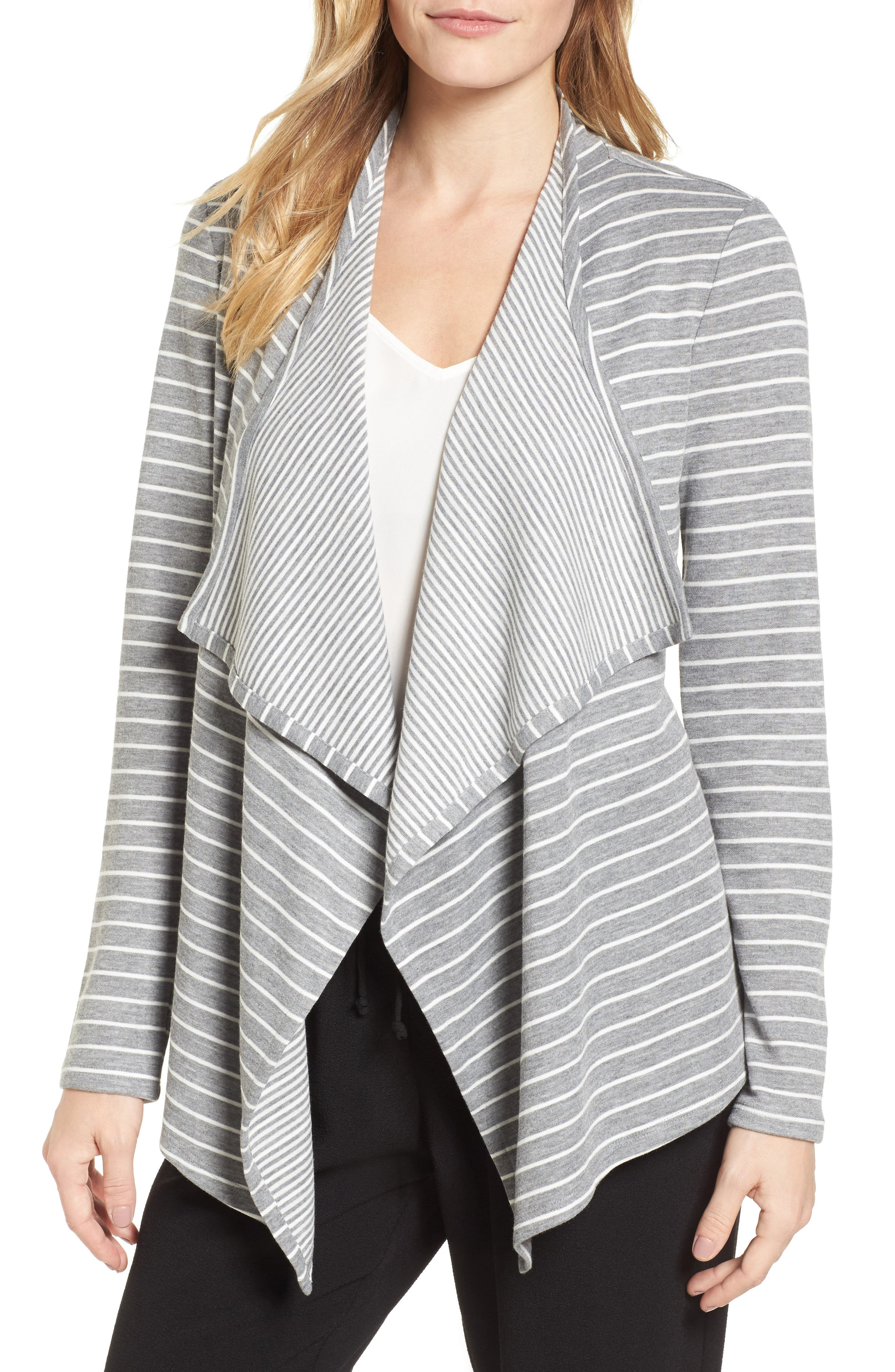 Mixed Stripe Cardigan,                             Main thumbnail 1, color,                             050-Grey Heather