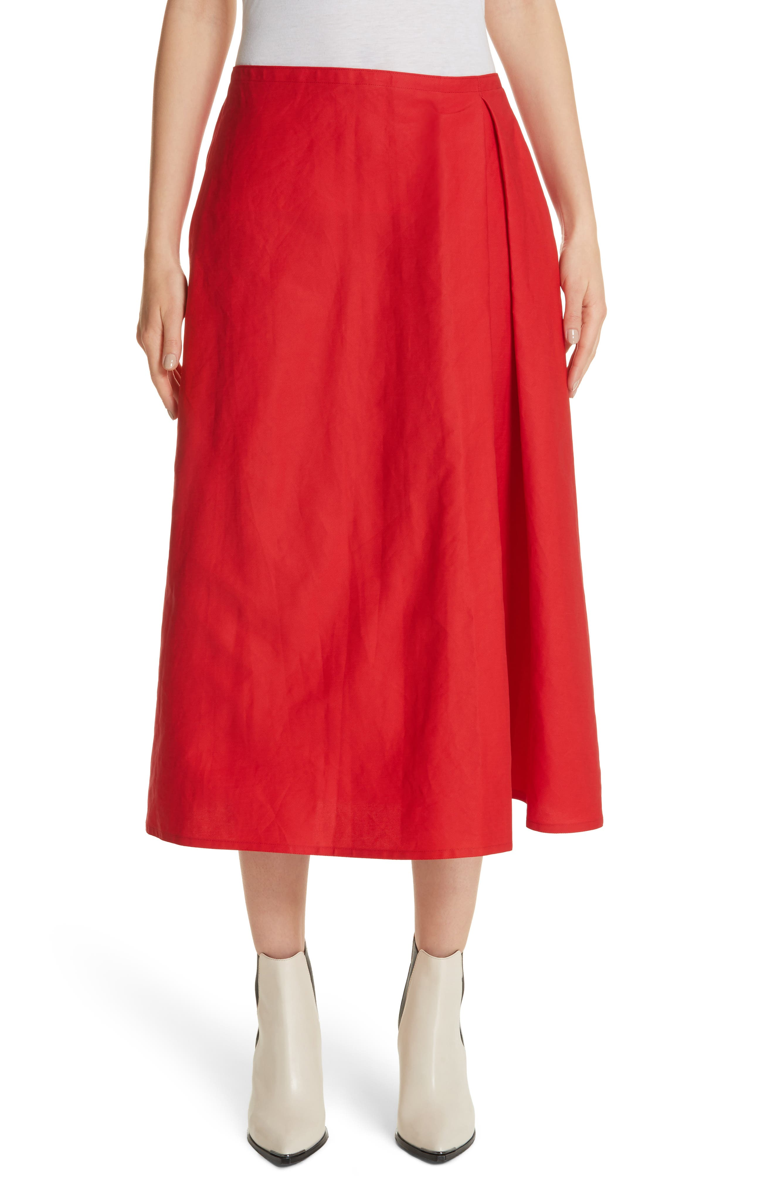 Faux Wrap Skirt,                         Main,                         color, Red Pepper