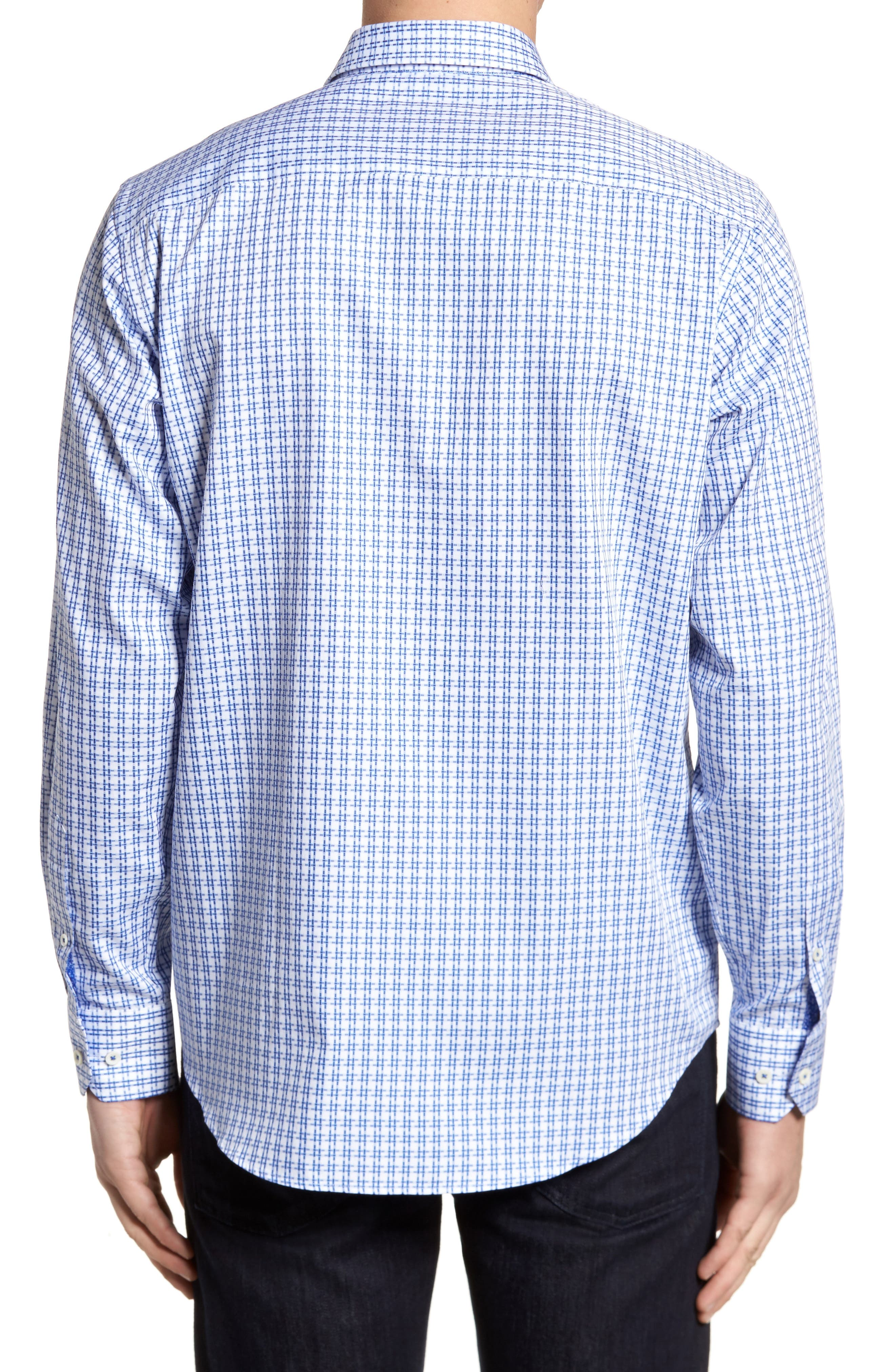 Double Stripe Classic Fit Sport Shirt,                             Alternate thumbnail 2, color,                             Navy