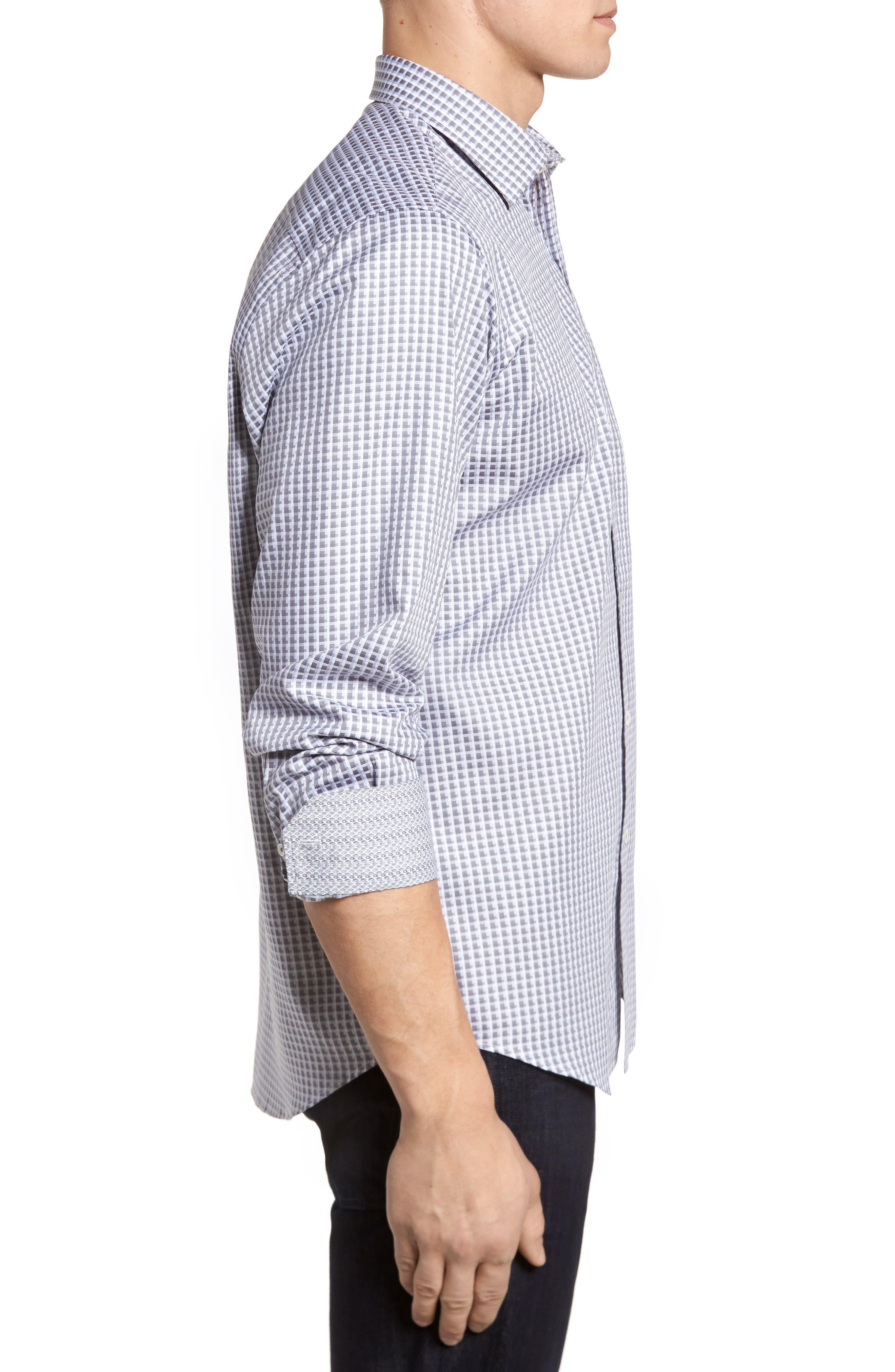 Regular Fit Check Sport Shirt,                             Alternate thumbnail 3, color,                             Platinum