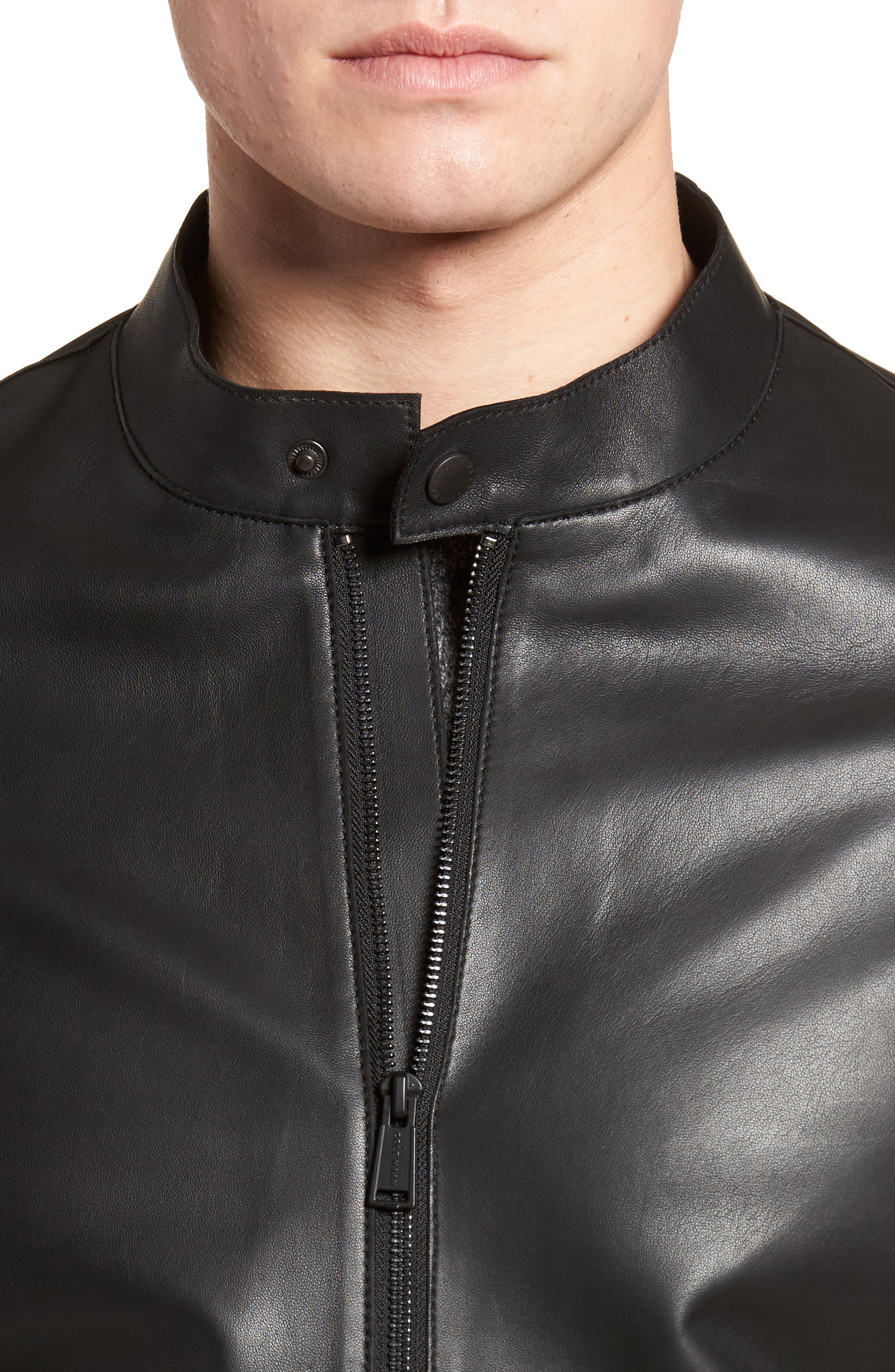 Bonded Leather Jacket,                             Alternate thumbnail 4, color,                             Black