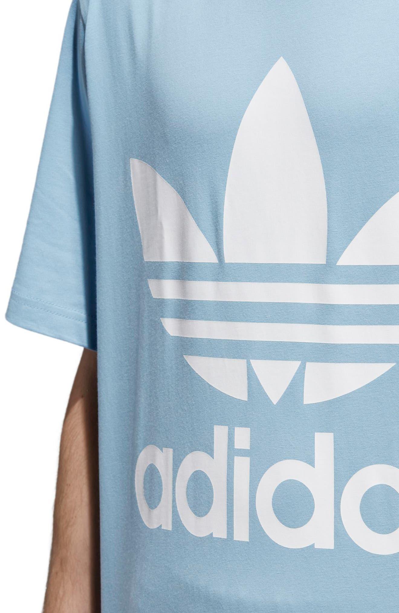 Oversized Trefoil Logo T-Shirt,                             Alternate thumbnail 4, color,                             Ash Blue