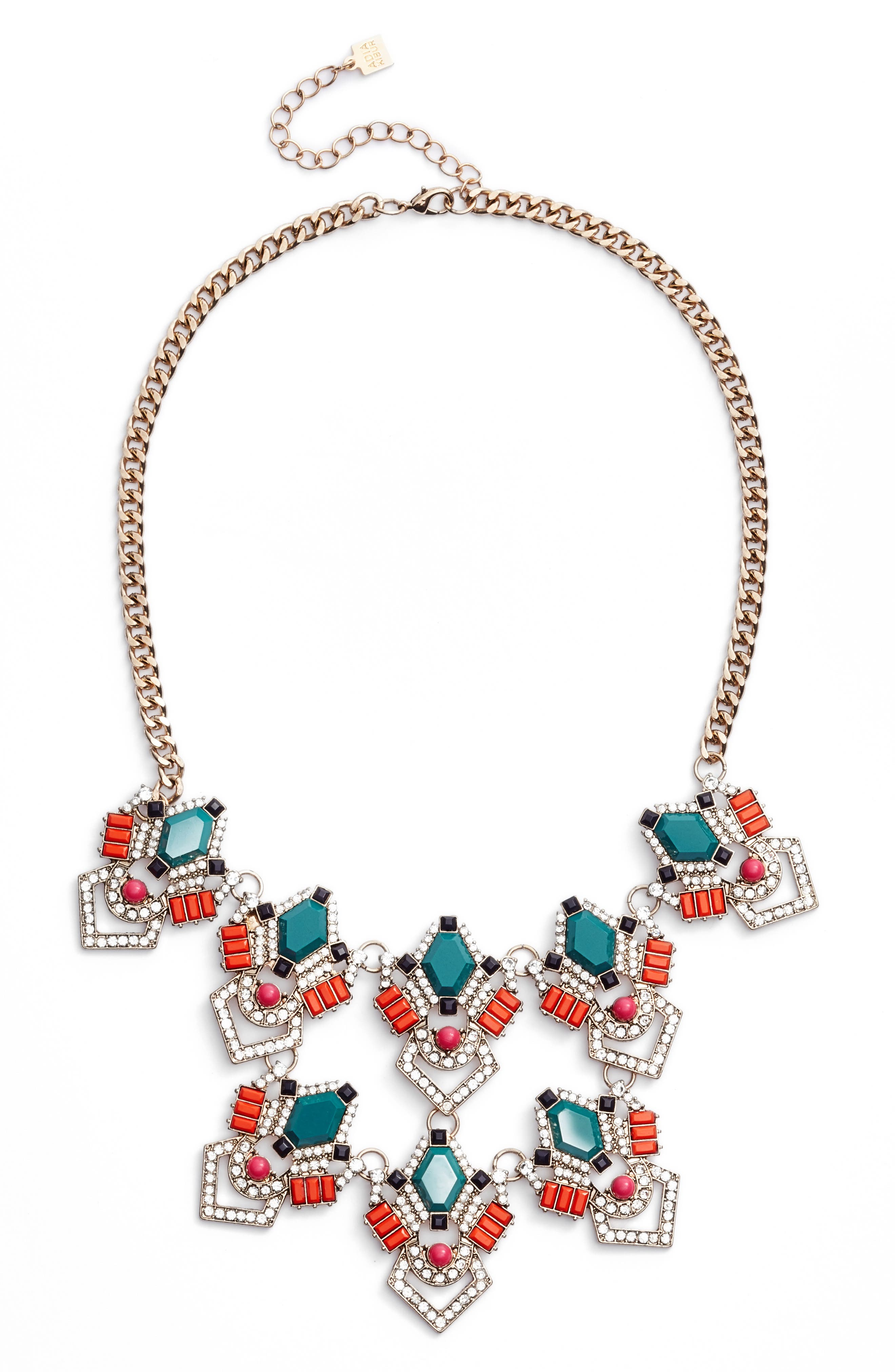 Stone & Crystal Statement Necklace,                         Main,                         color, Teal