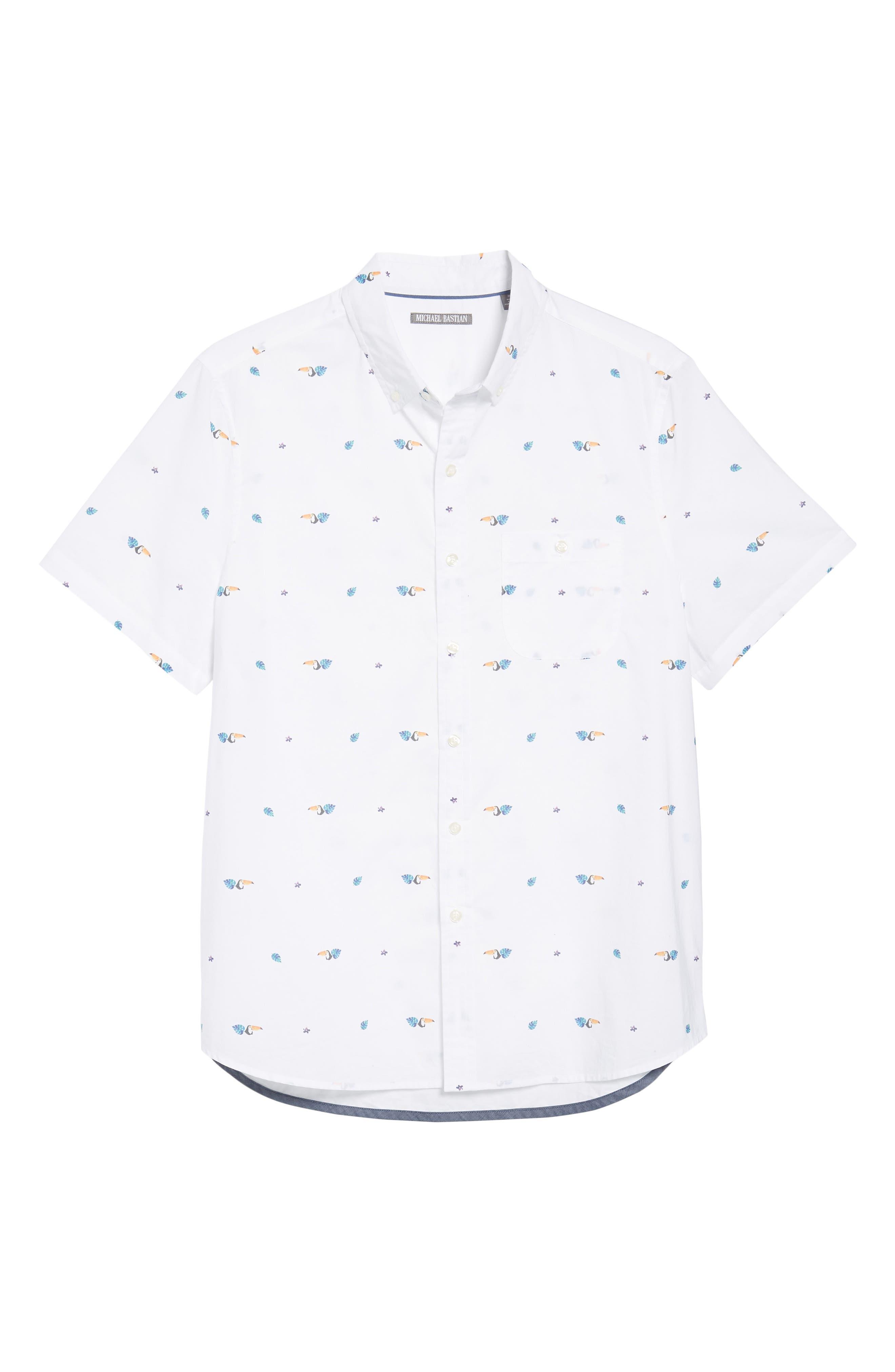 Toucan Print Sport Shirt,                             Alternate thumbnail 6, color,                             Toucan Print