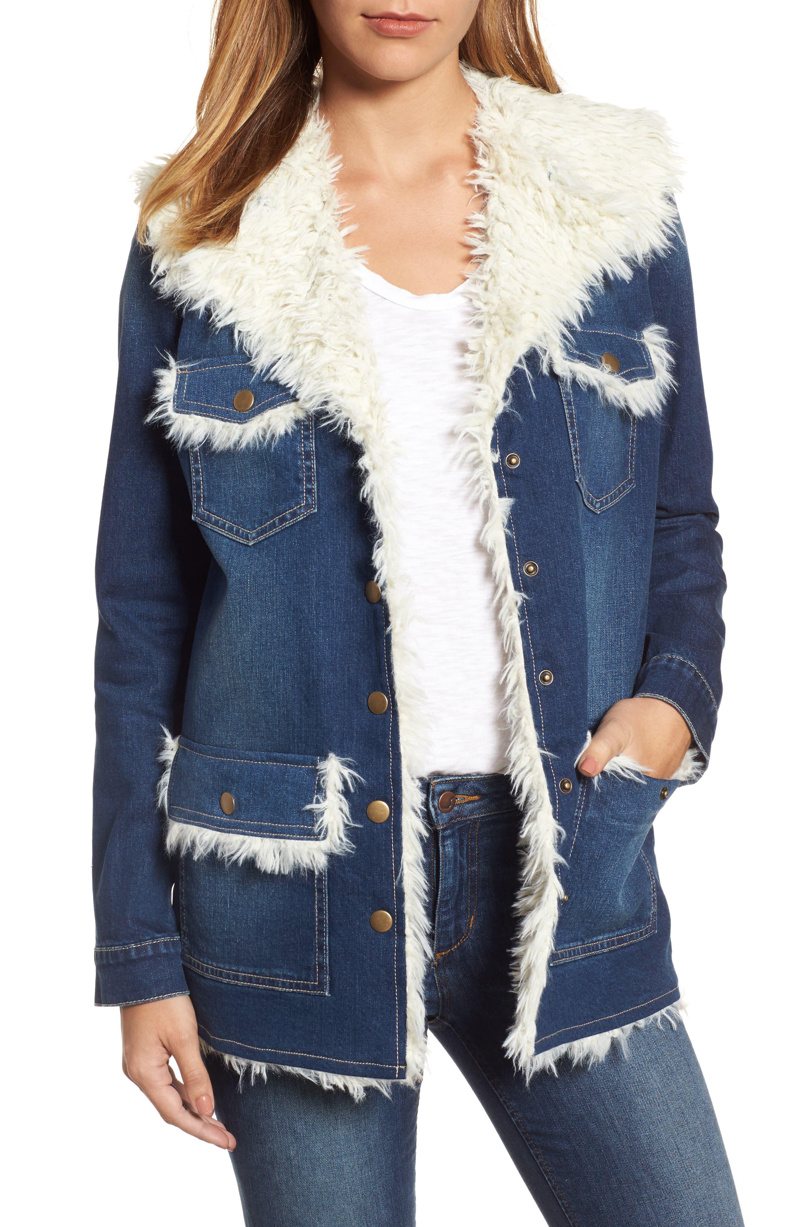 Faux Shearling Trim Denim Jacket,                         Main,                         color, Referred
