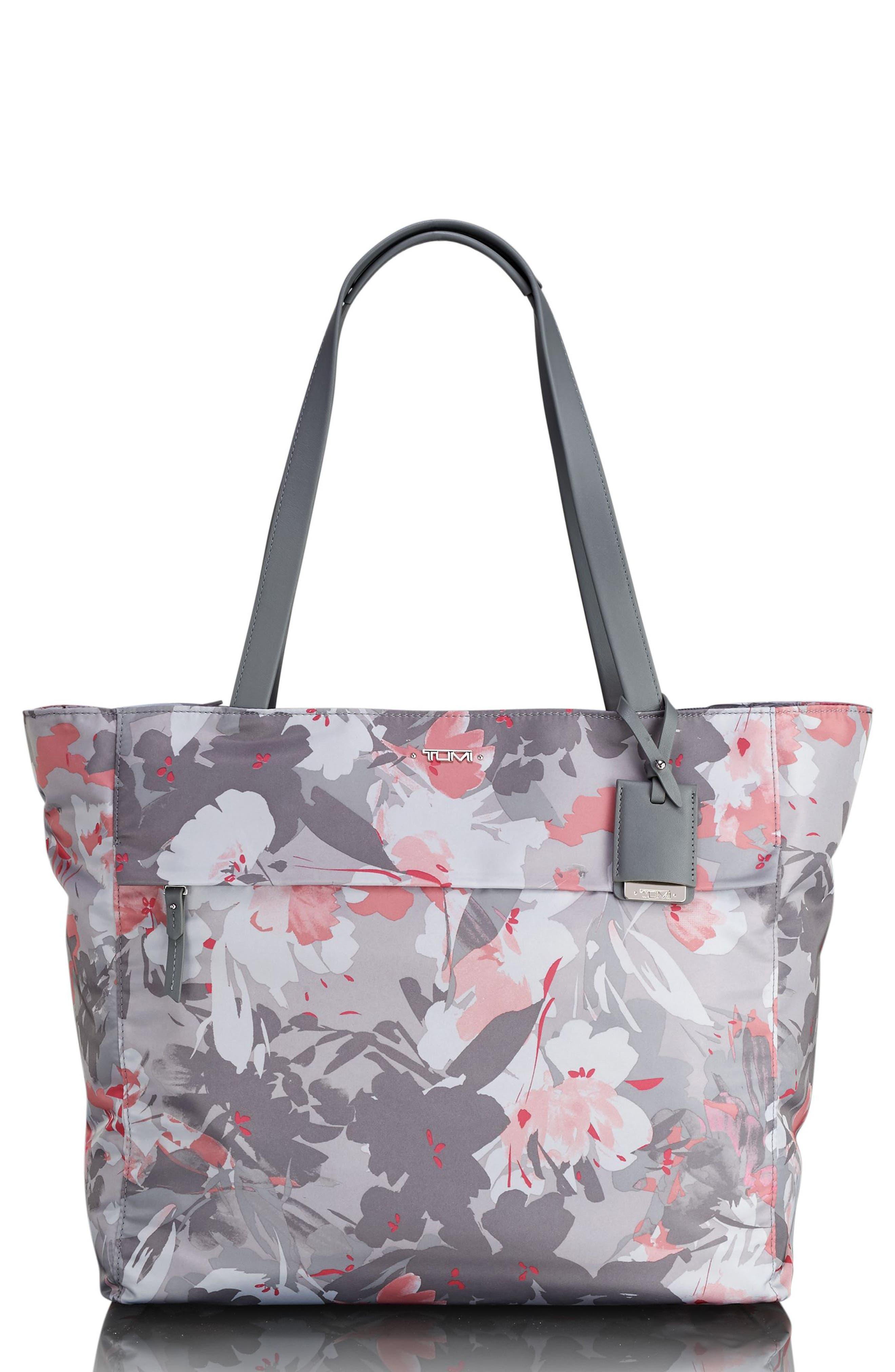 Voyageur - M Nylon Tote,                         Main,                         color, Grey Floral Print