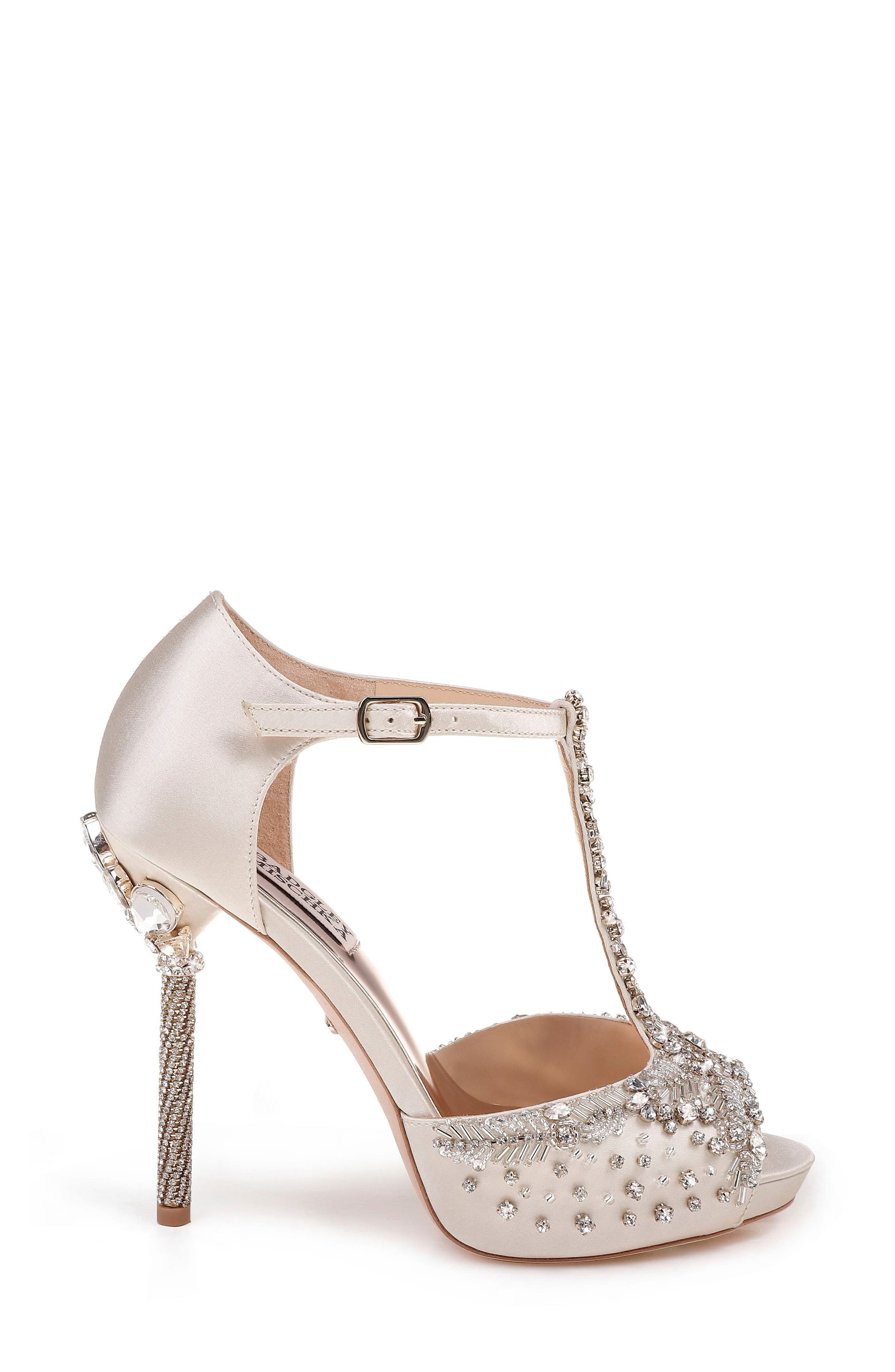 Stacey Crystal Embellished T-Strap Sandal,                             Alternate thumbnail 3, color,                             Ivory Satin