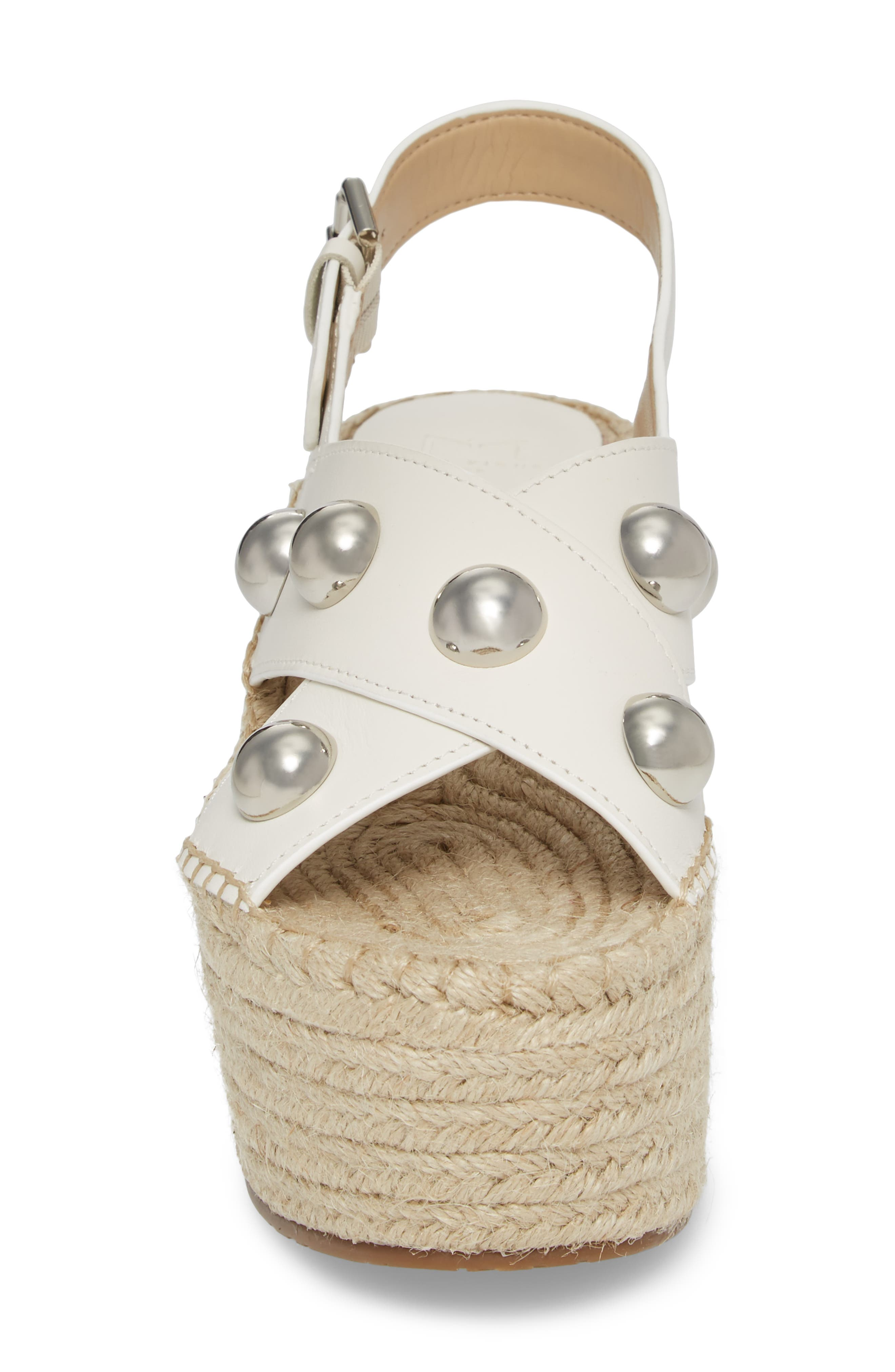 Rella Espadrille Platform Sandal,                             Alternate thumbnail 4, color,                             Ivory Leather