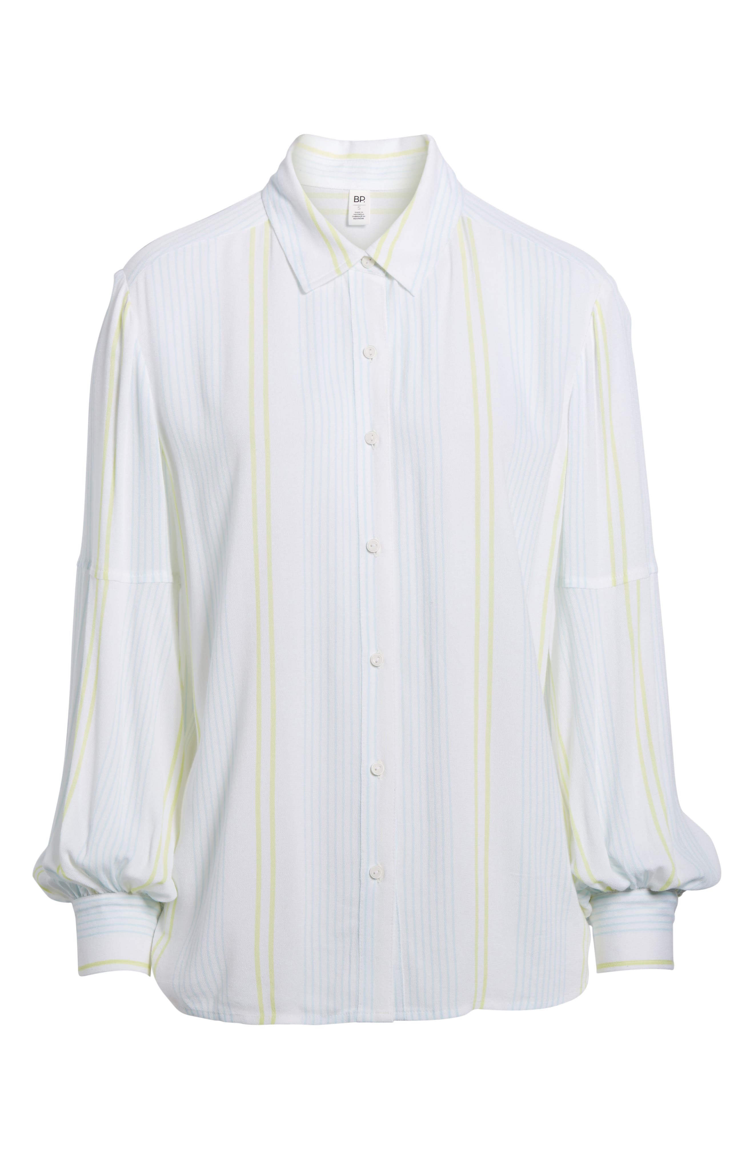 Blouson Sleeve Shirt,                         Main,                         color, Green Fresh Stripe