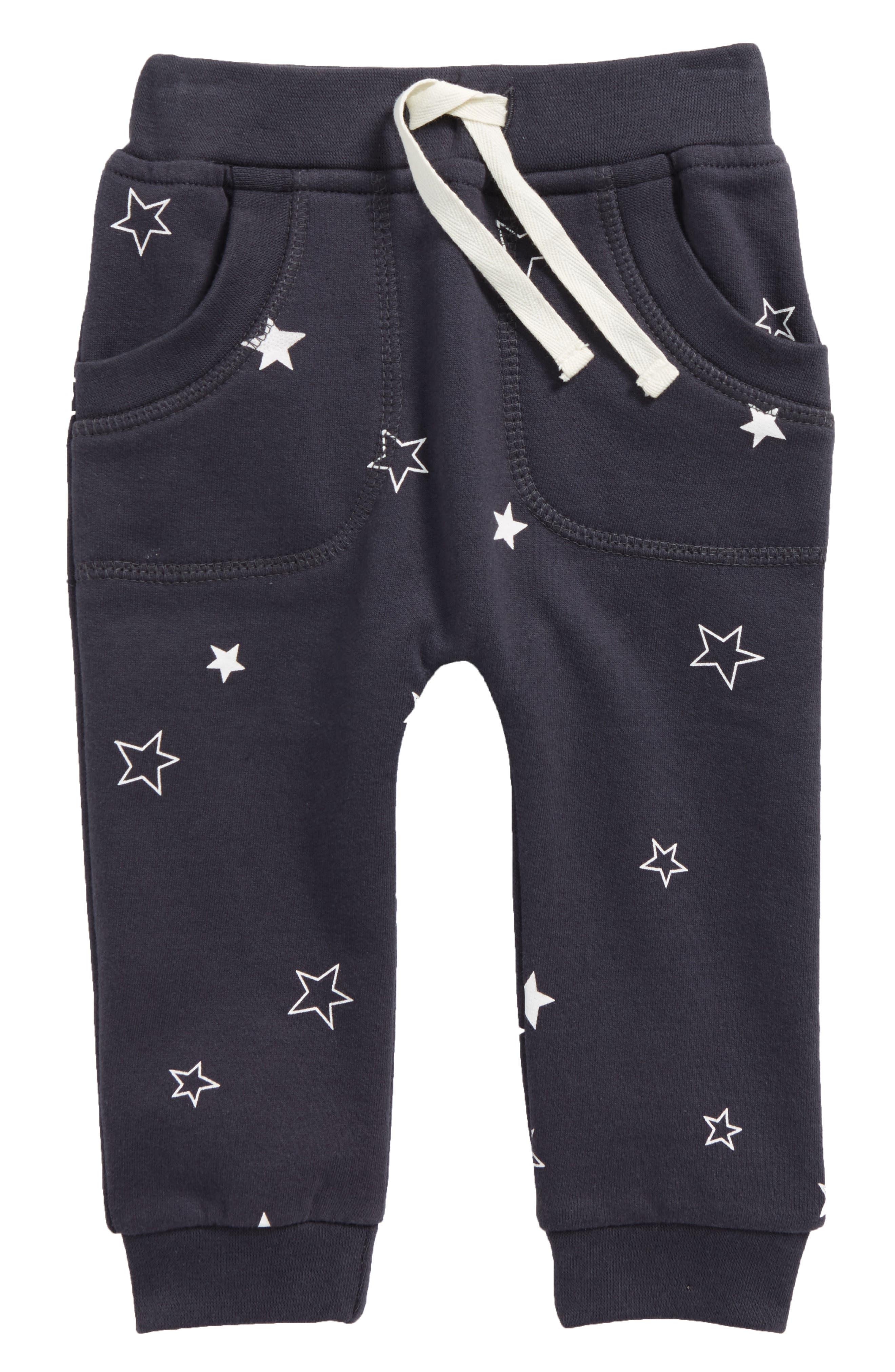 Star Print Organic Cotton Jogger Pants,                         Main,                         color, Night Sky