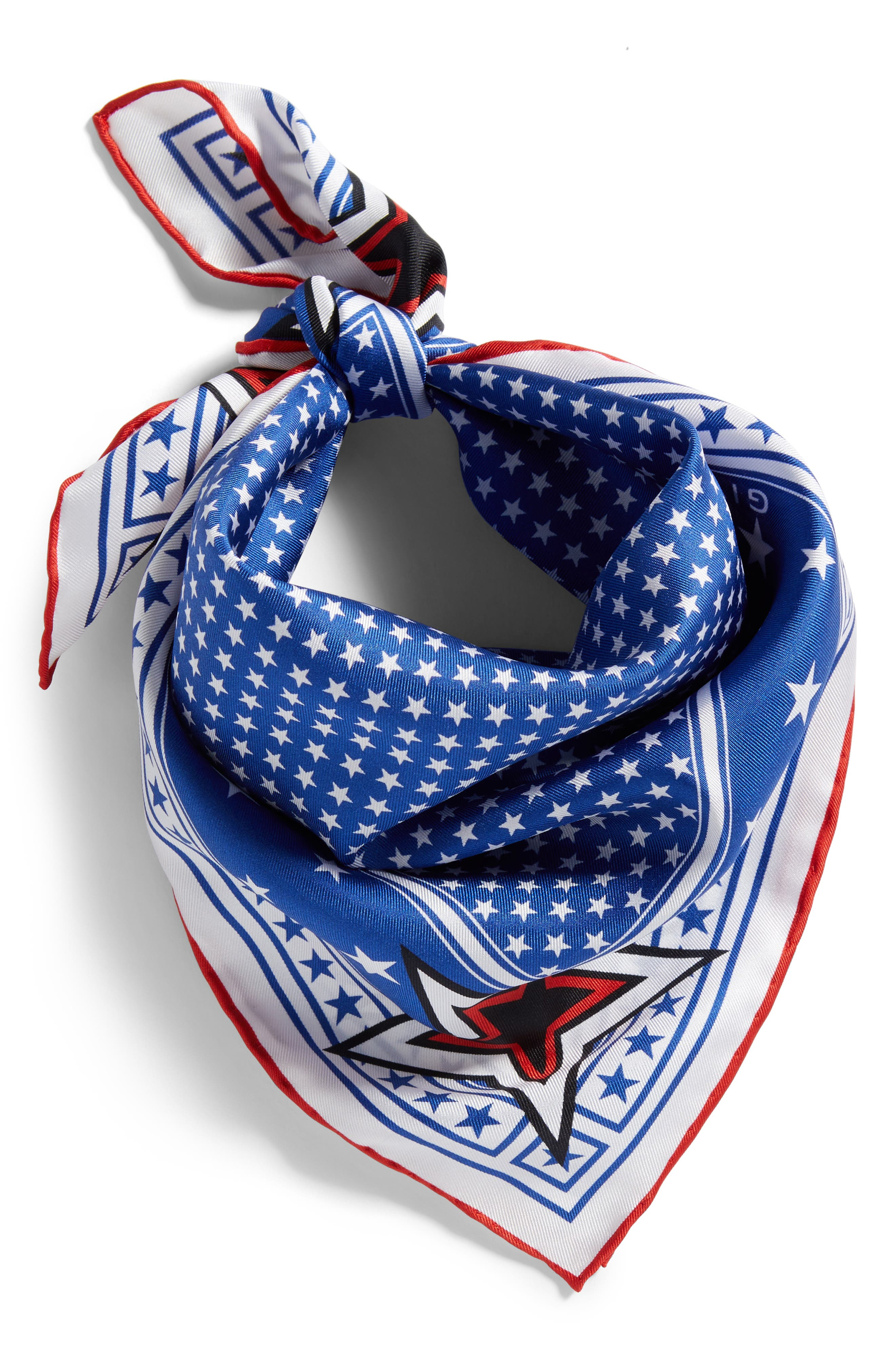 Star Silk Twill Square Scarf,                             Alternate thumbnail 3, color,                             Blue/ Red